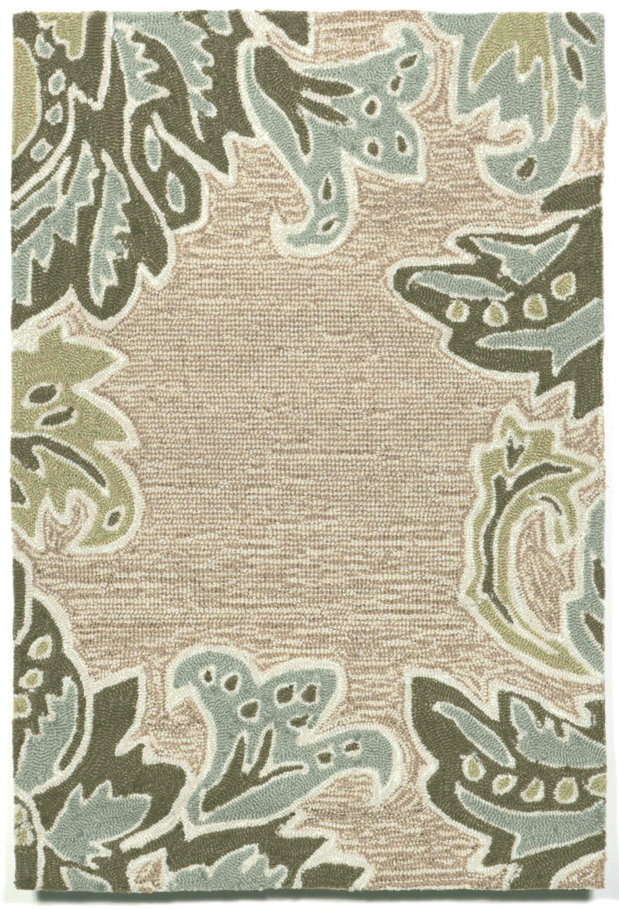 Cosmo Ornametal Leaf Border Aqua Indoor/Outdoor Rug Rug Size: Rectangle 5' x 7'6