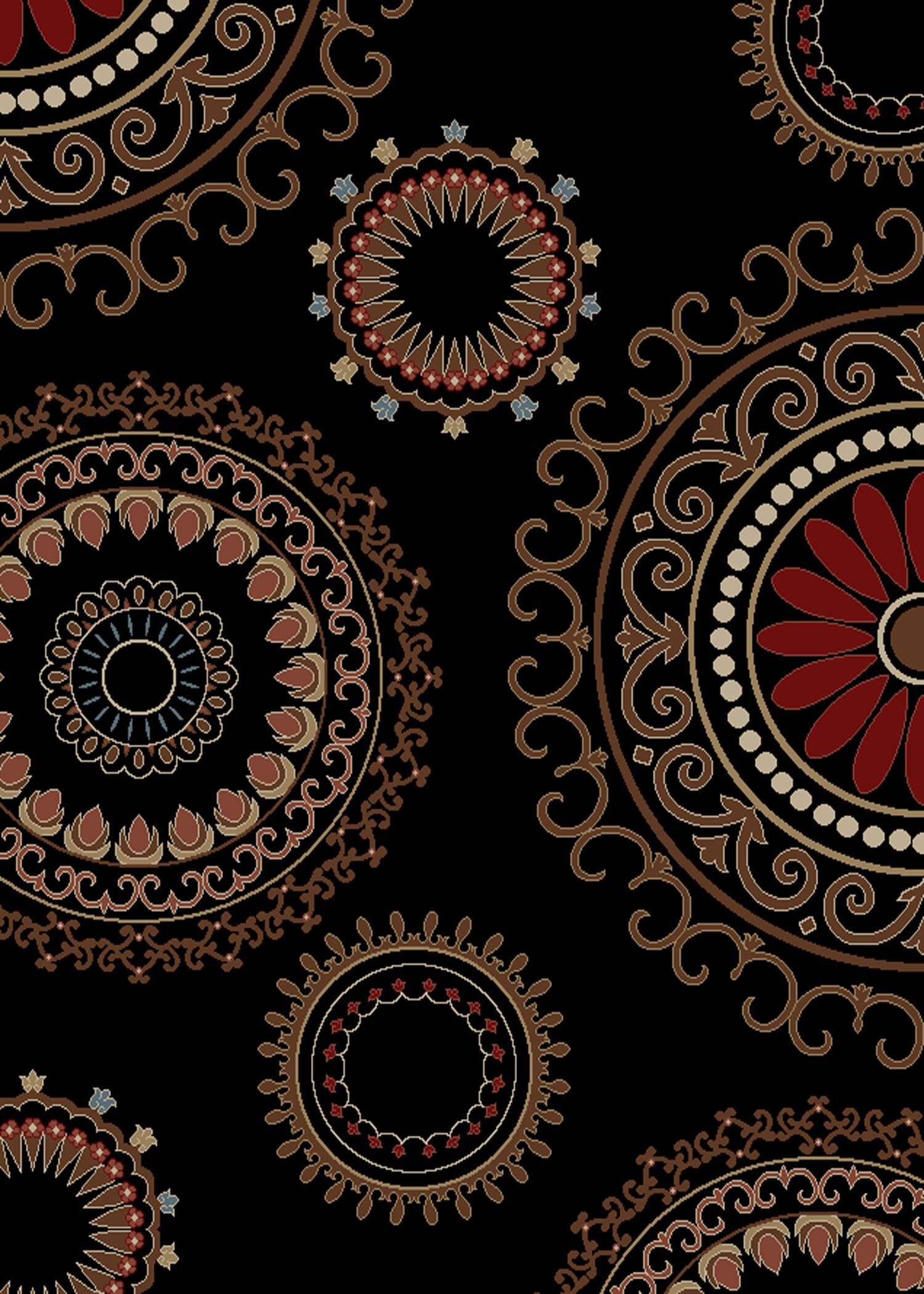 Jordan Kaleidoscope Ebony Area Rug Rug Size: 5' x 8'