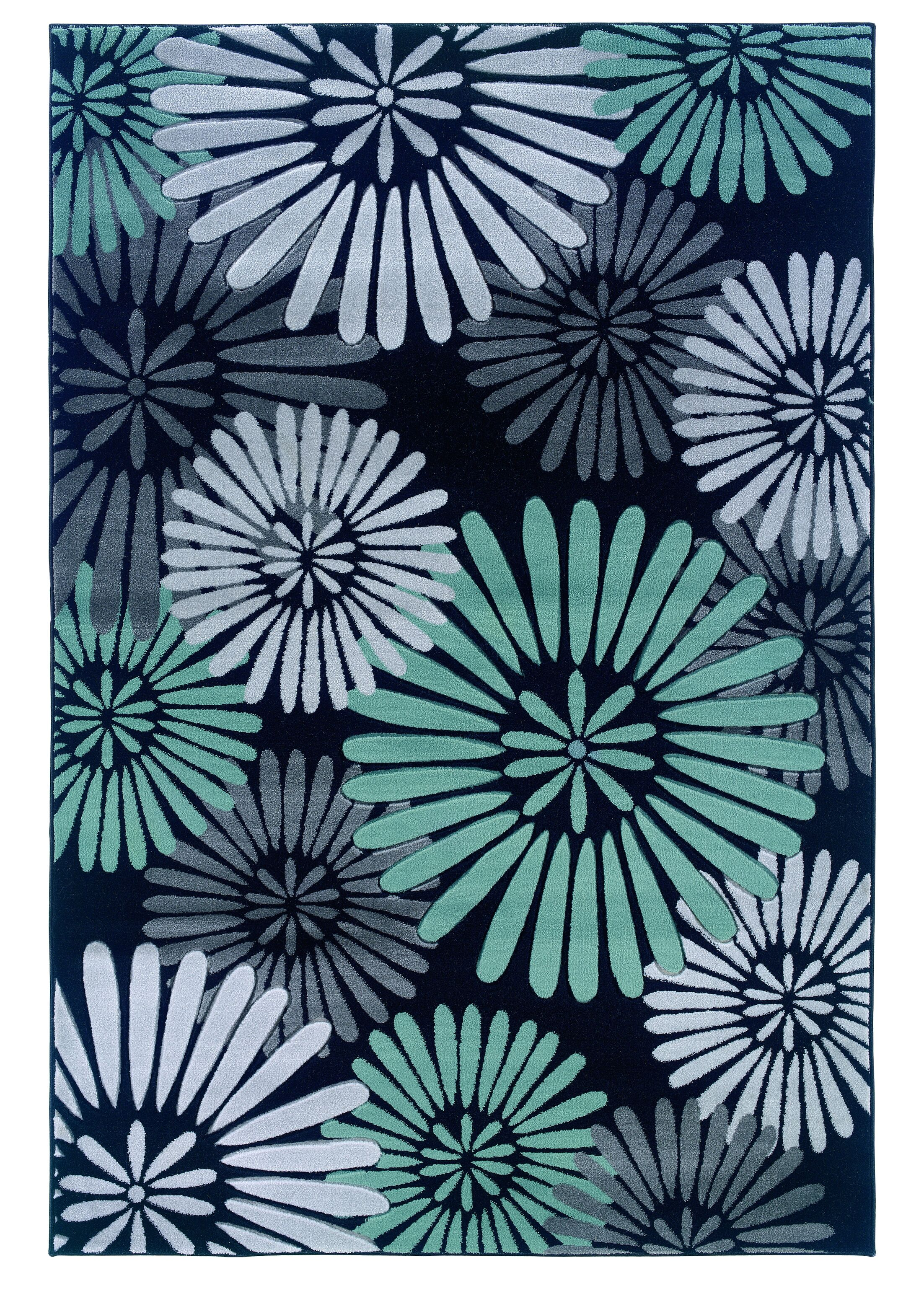 Cheyanne Black/Blue Area Rug Rug Size: Rectangle 8' x 10'3