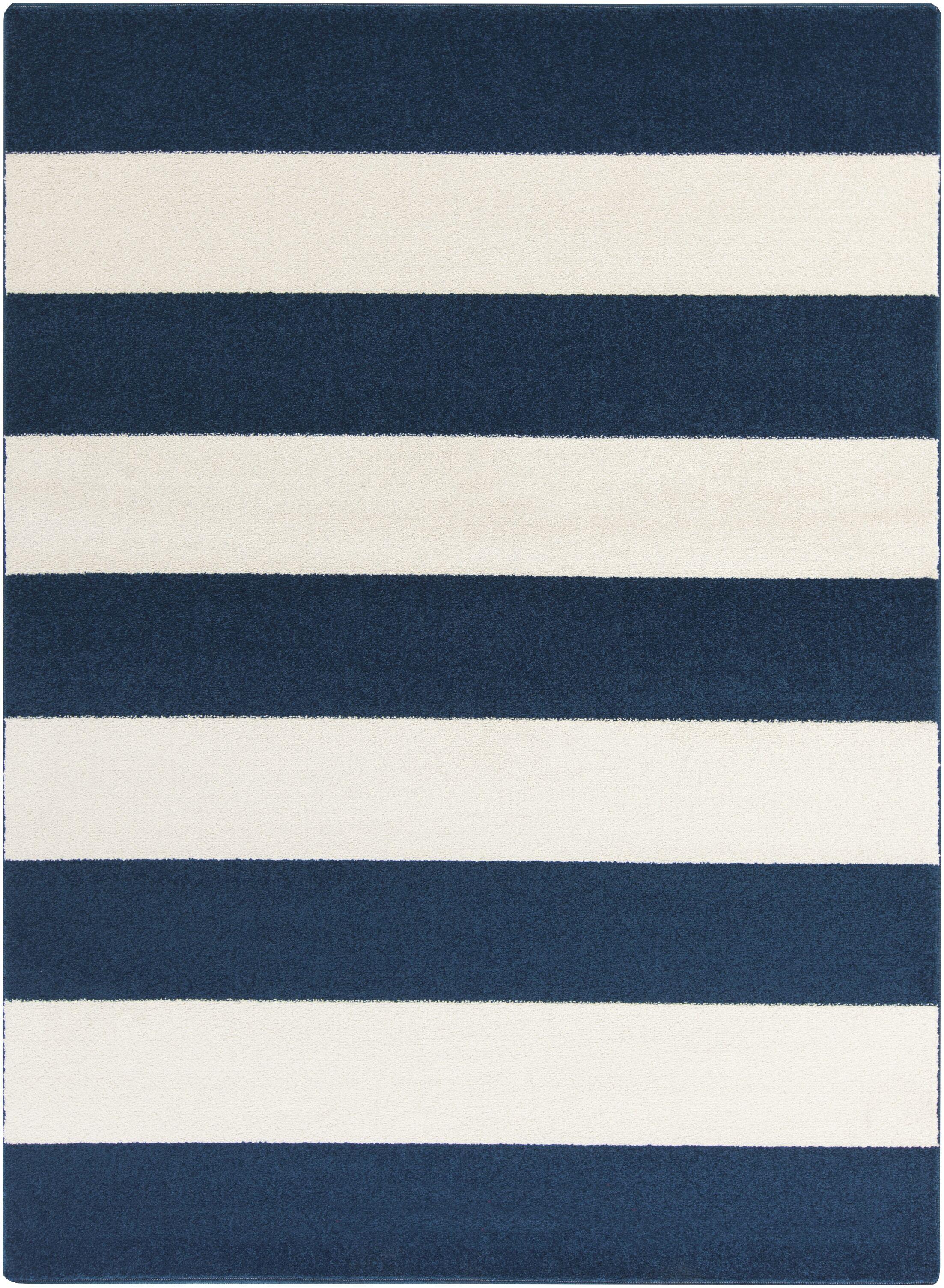 Greer Cobalt & Ivory Striped Area Rug Rug Size: Rectangle 5'3