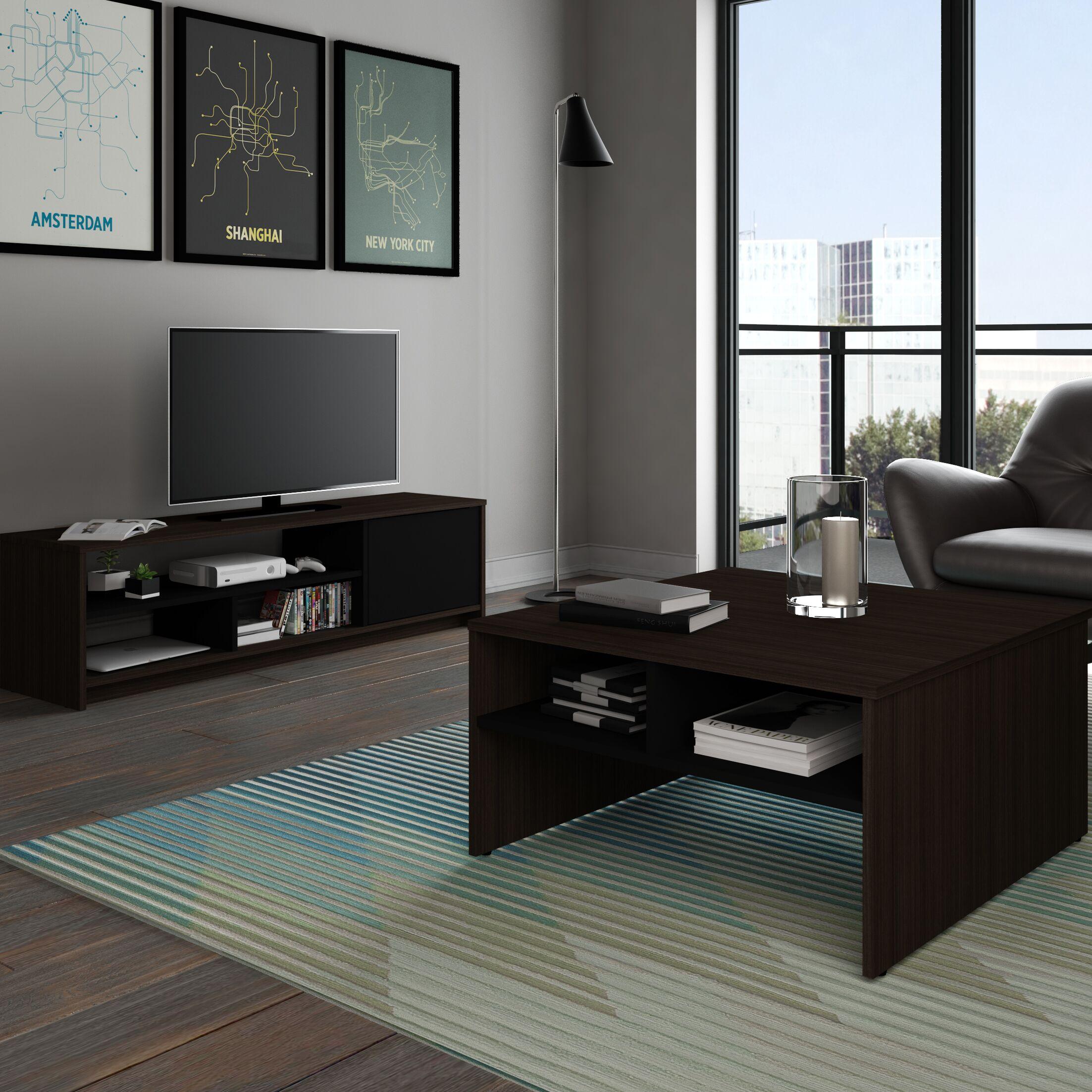 Smit 2-Piece Storage Coffee Table and TV Stand Set Color: Dark Chocolate/Black