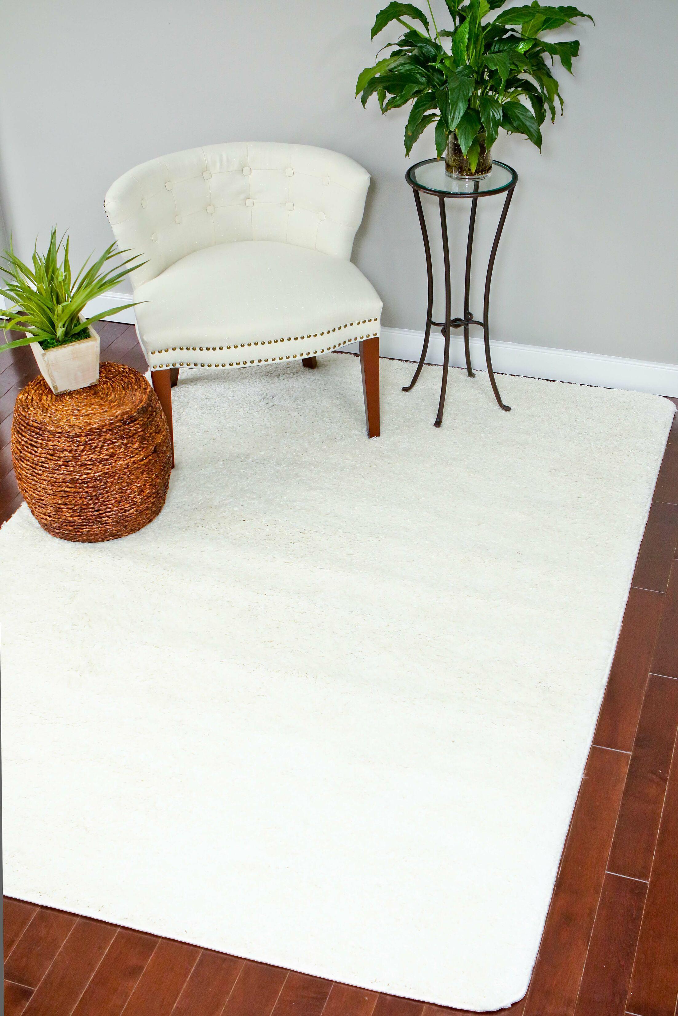 Bennet Shag Plain White Area Rug Rug Size: Rectangle 7' x 10'