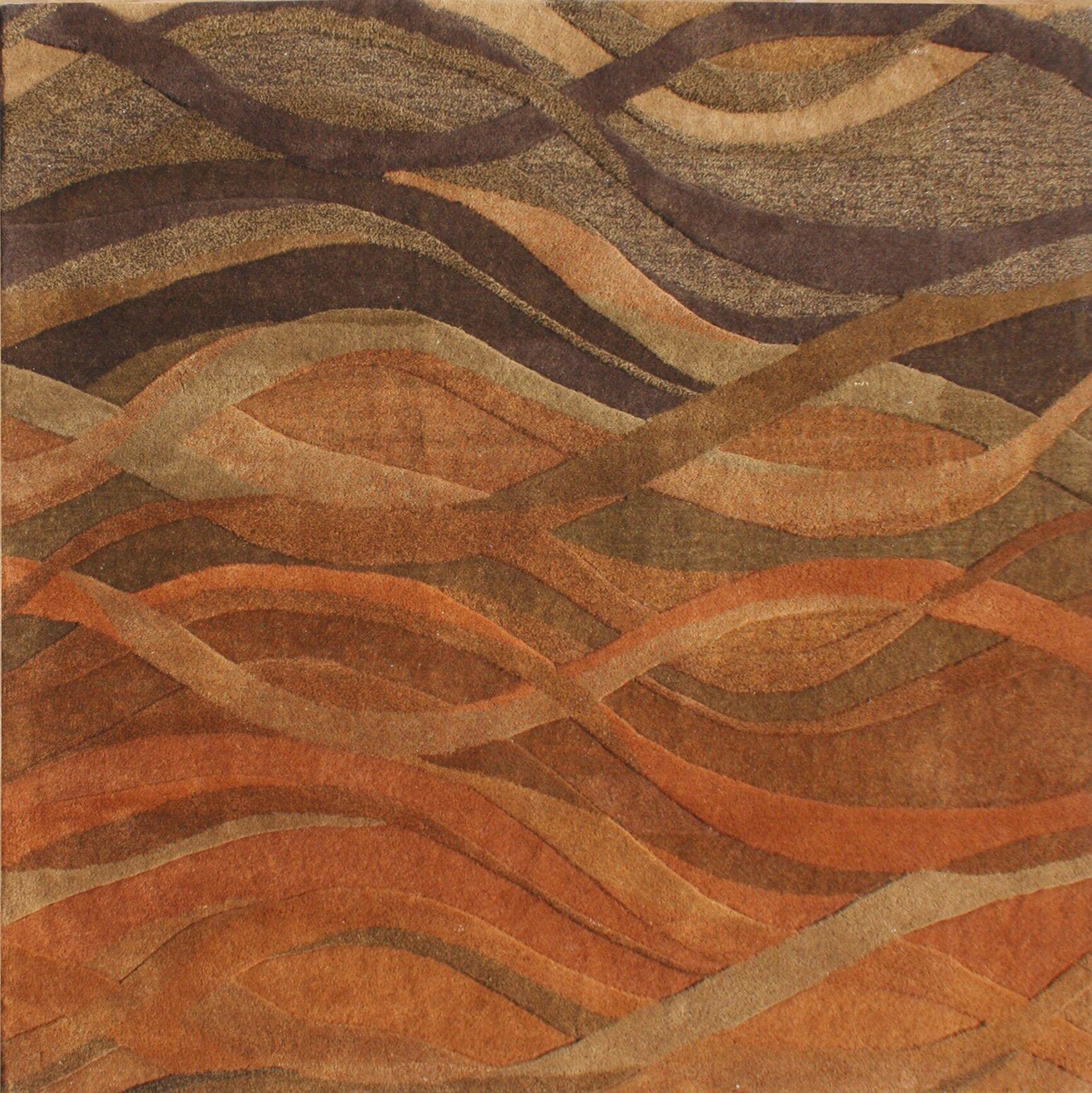 Stretton Hand-Tufted Ograne Area Rug Rug Size: Square 6'