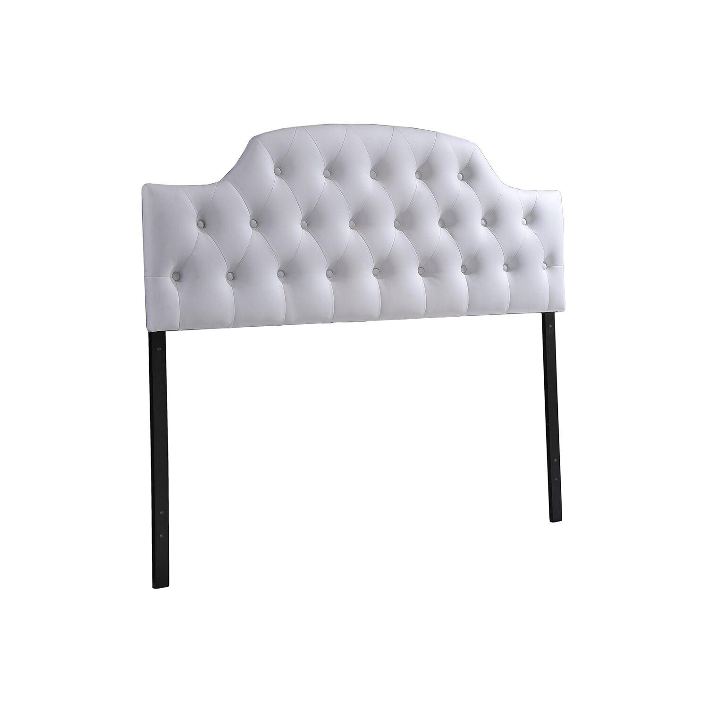 Colegrove Scalloped Upholstered Panel Headboard Size: Full, Upholstery: White