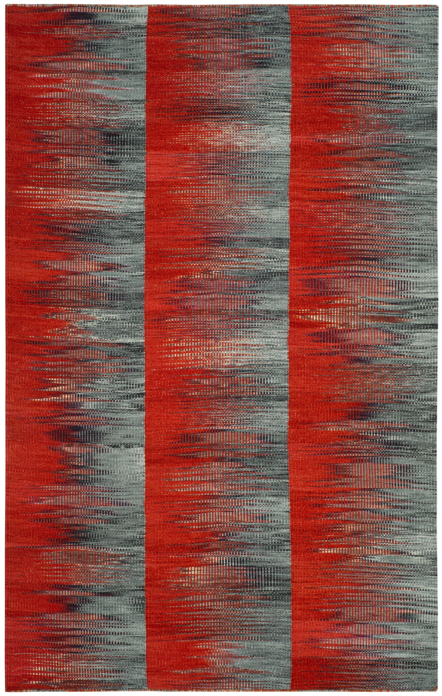 Amerina Hand-Woven Red/Charcoal Area Rug Rug Size: Rectangle 4' x 6'