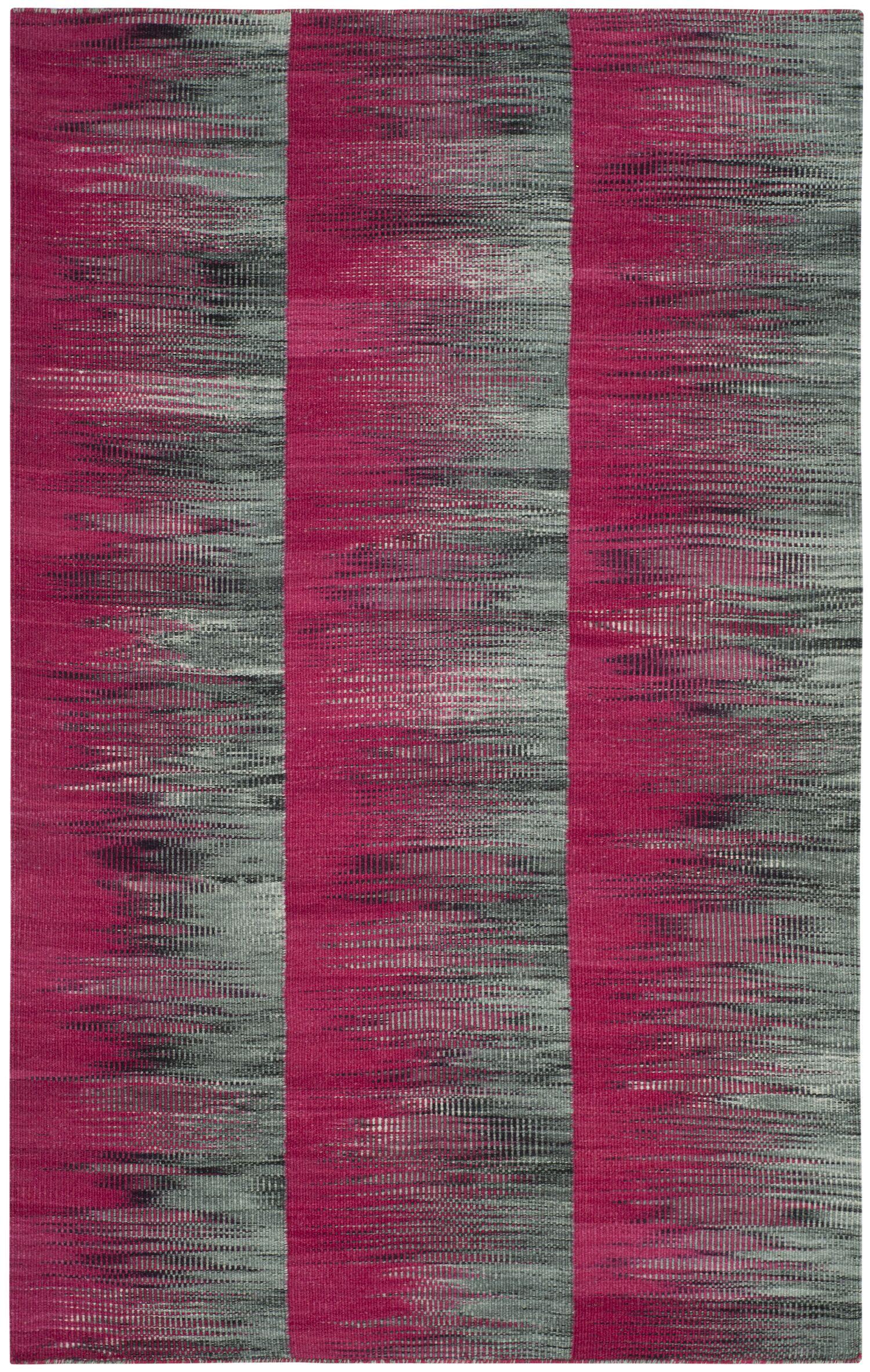 Amerina Hand-Woven Fuchsia/Charcoal Area Rug Rug Size: Rectangle 4' x 6'