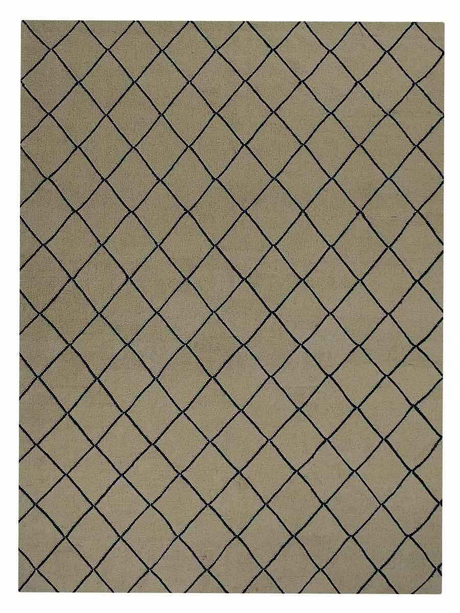 Ry Flat Weave Hand-Knotted Wool White/Blue Area Rug Rug Size: 8' x 10'