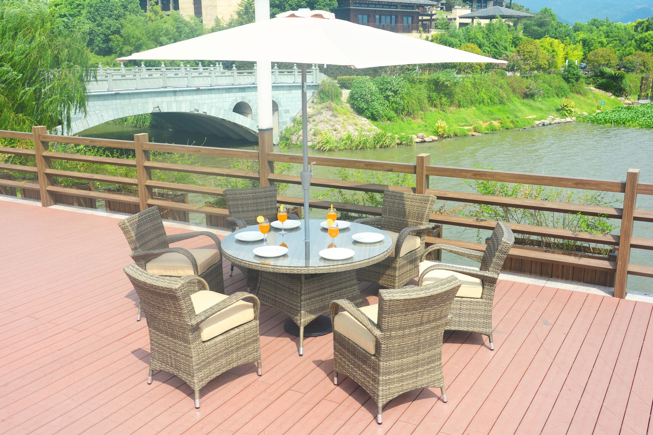 Anntonette 8 Piece Dining Set with Cushion and Umbrella Color: Natural
