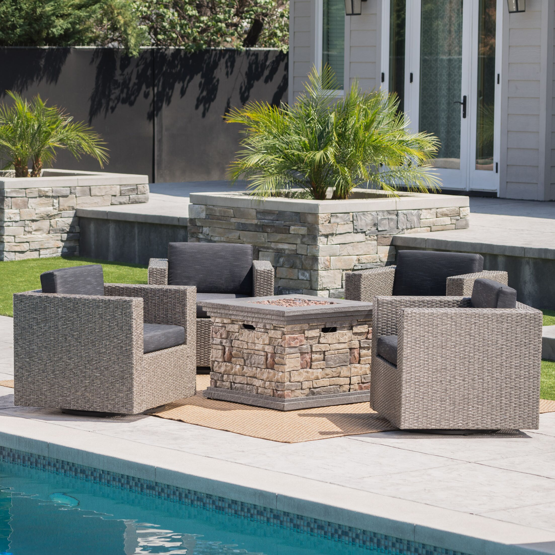 Schiller 5 Piece Conversation Set with Cushions Frame Color: Mixed Black