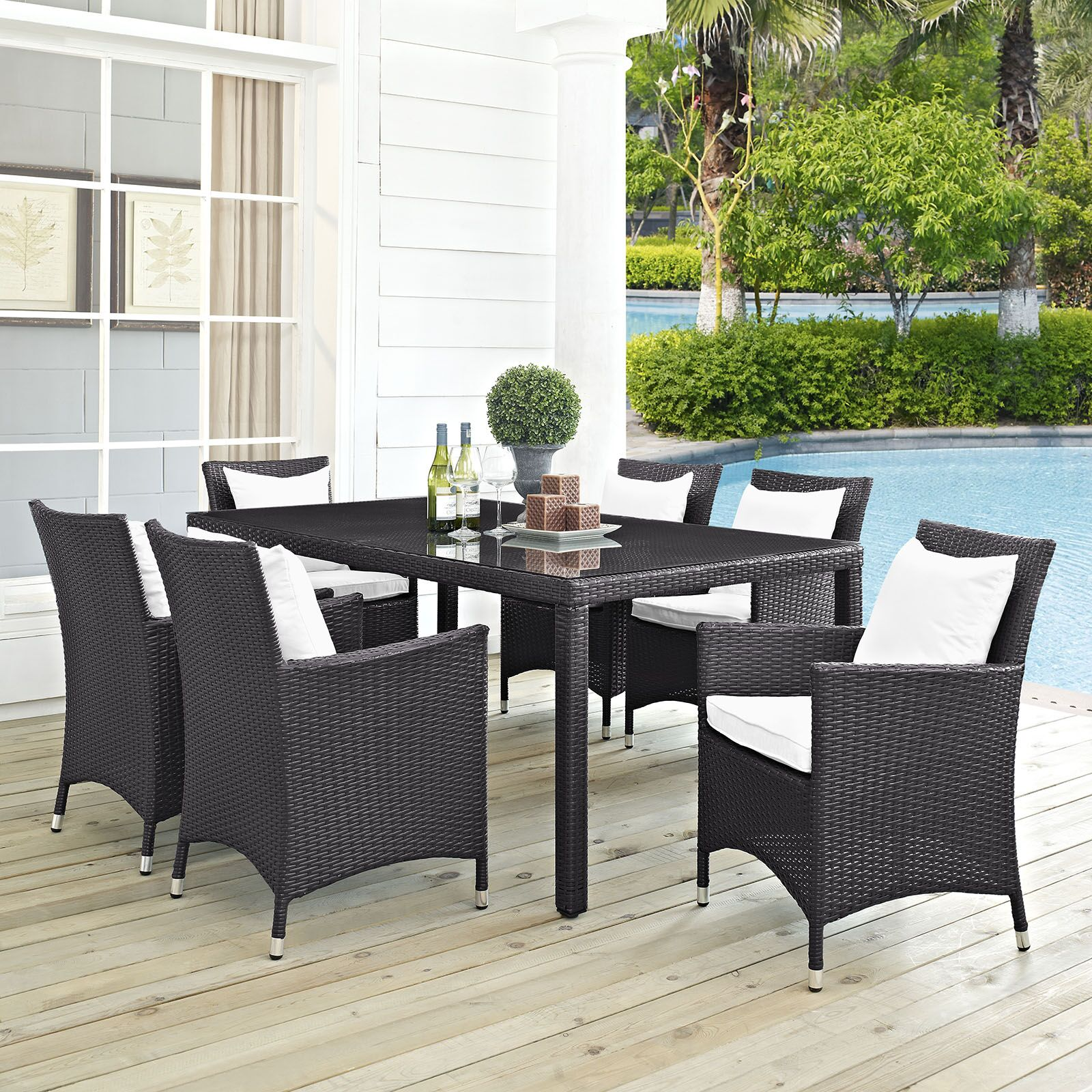 Ryele 7 Piece Outdoor Patio Dining Set with Cushions Cushion Color: Espresso White