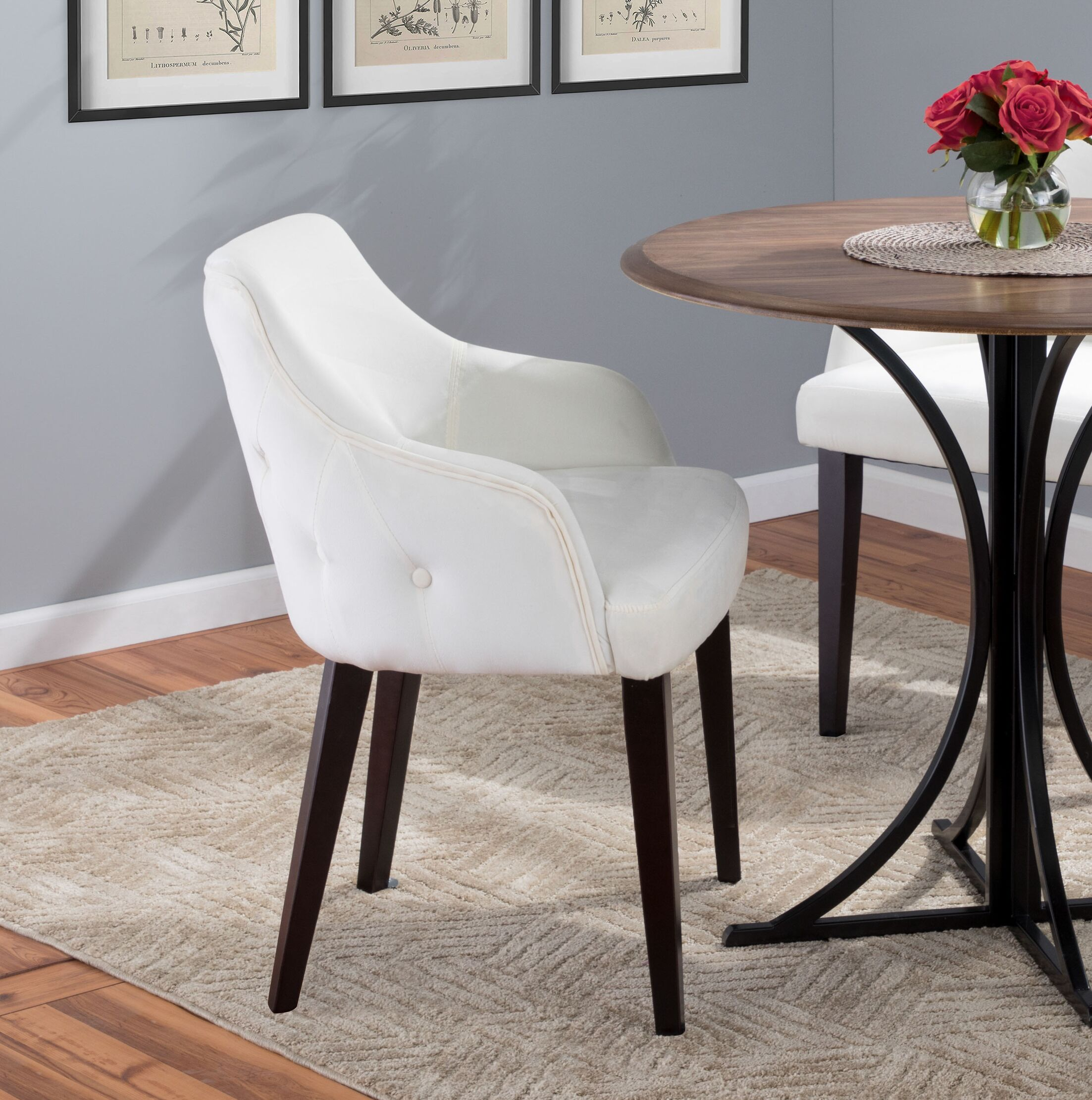 Pointer Contemporary Upholstered Dining Chair Upholstery Color: Cream