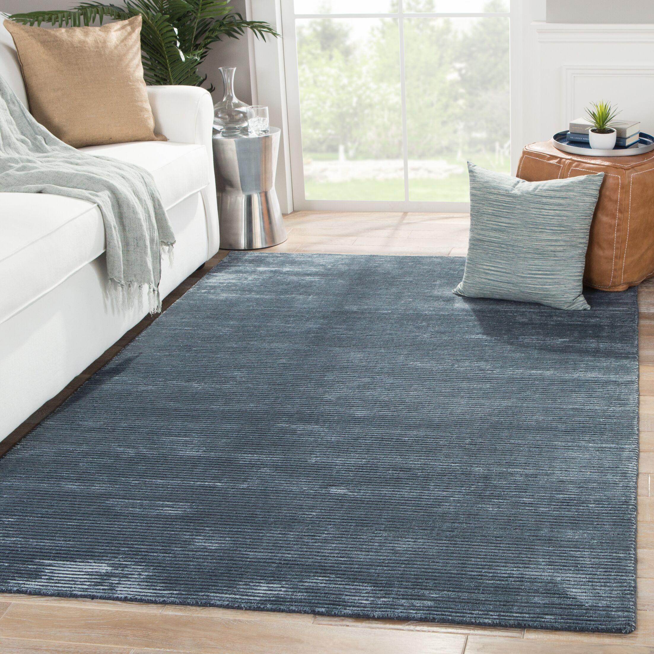 Nico Wool and Art Silk Solids/Handloom Moonlight Blue Area Rug Rug Size: 8' x 10'