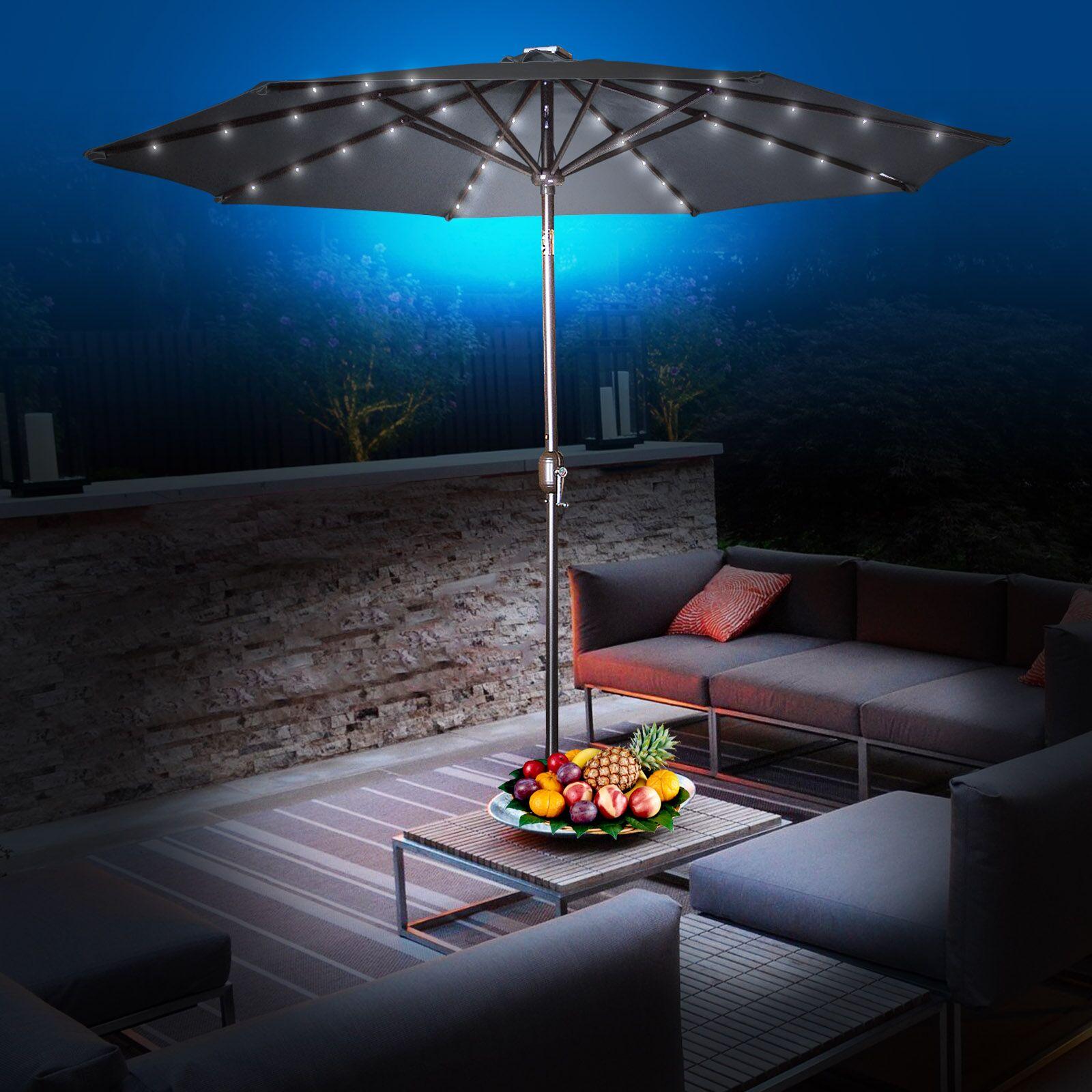 Abia 9' Lighted Umbrella Color: Black