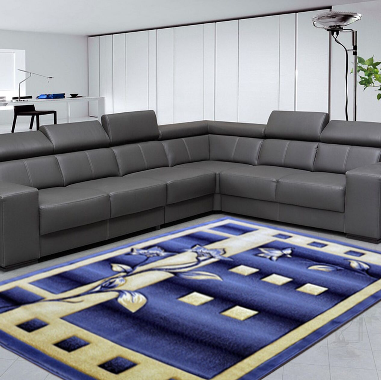 Gabbie Blue Area Rug Rug Size: Round 8'