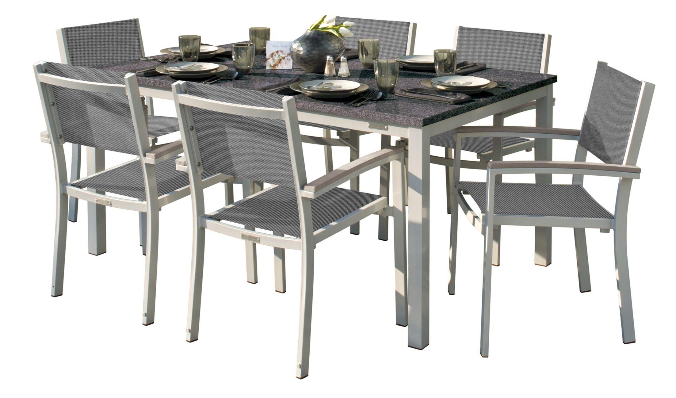 Laskowski 7 Piece Teak Dining Set Cushion Color: Titanium