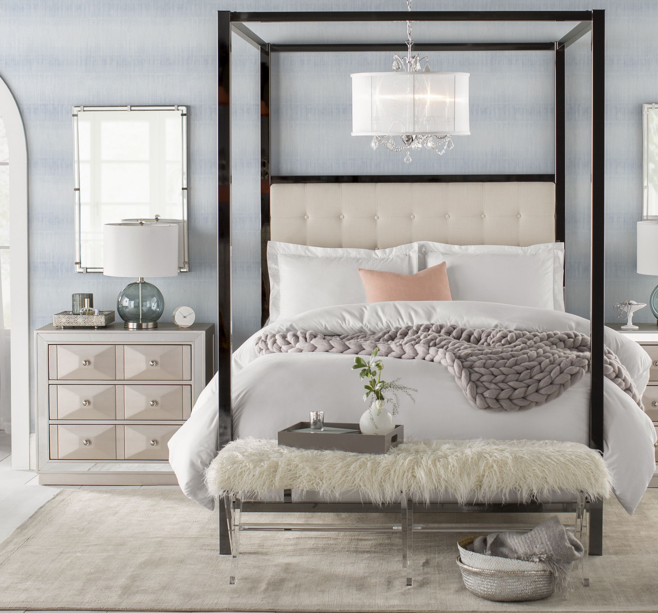Holton Upholstered Canopy Bed Color: White, Size: Queen