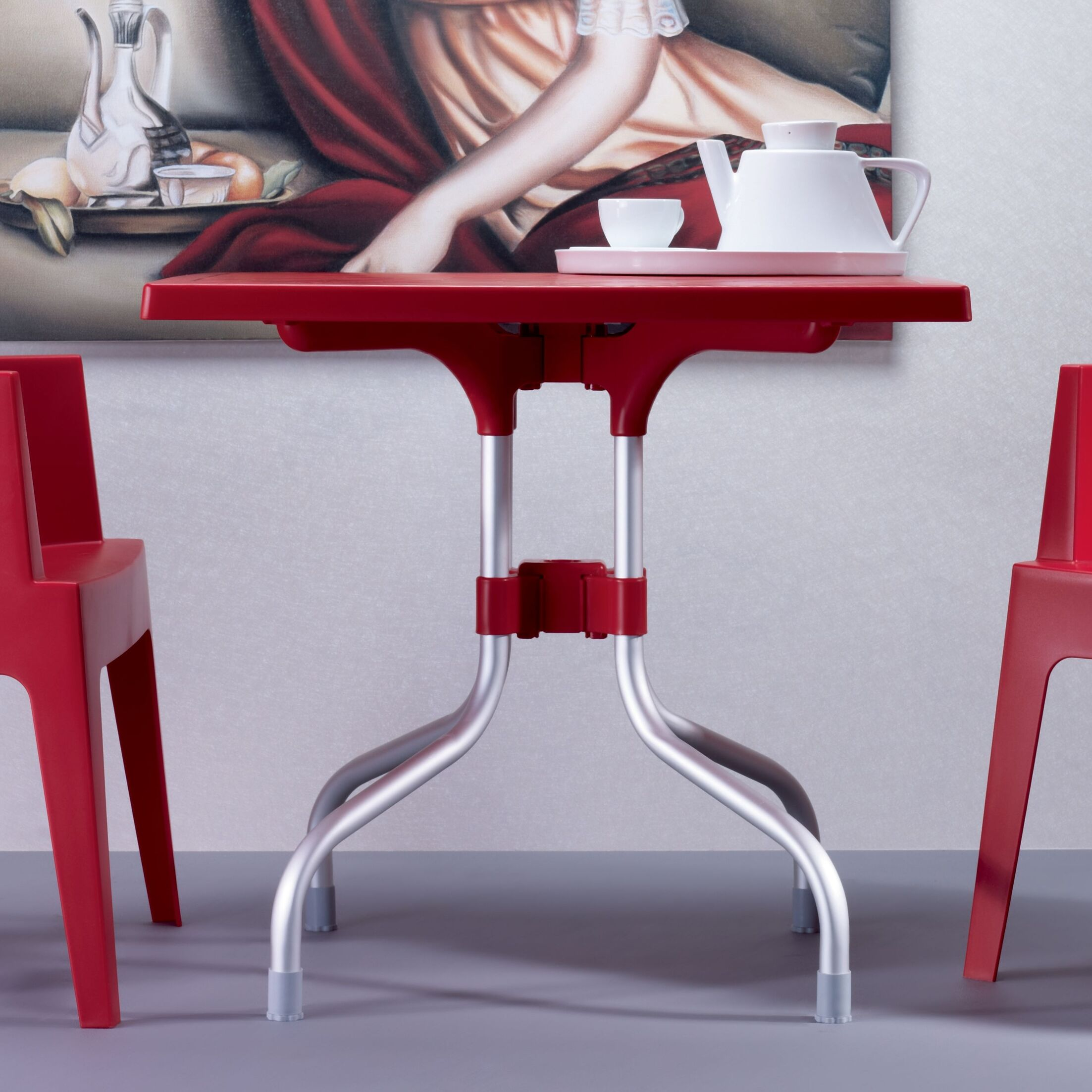Buerger Square Folding Bistro Table Finish: Red