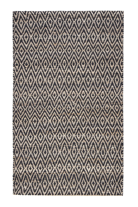 Pyrrhos Diamond Hand-Woven Black/Beige Area Rug Rug Size: Rectangle 8' x 10'