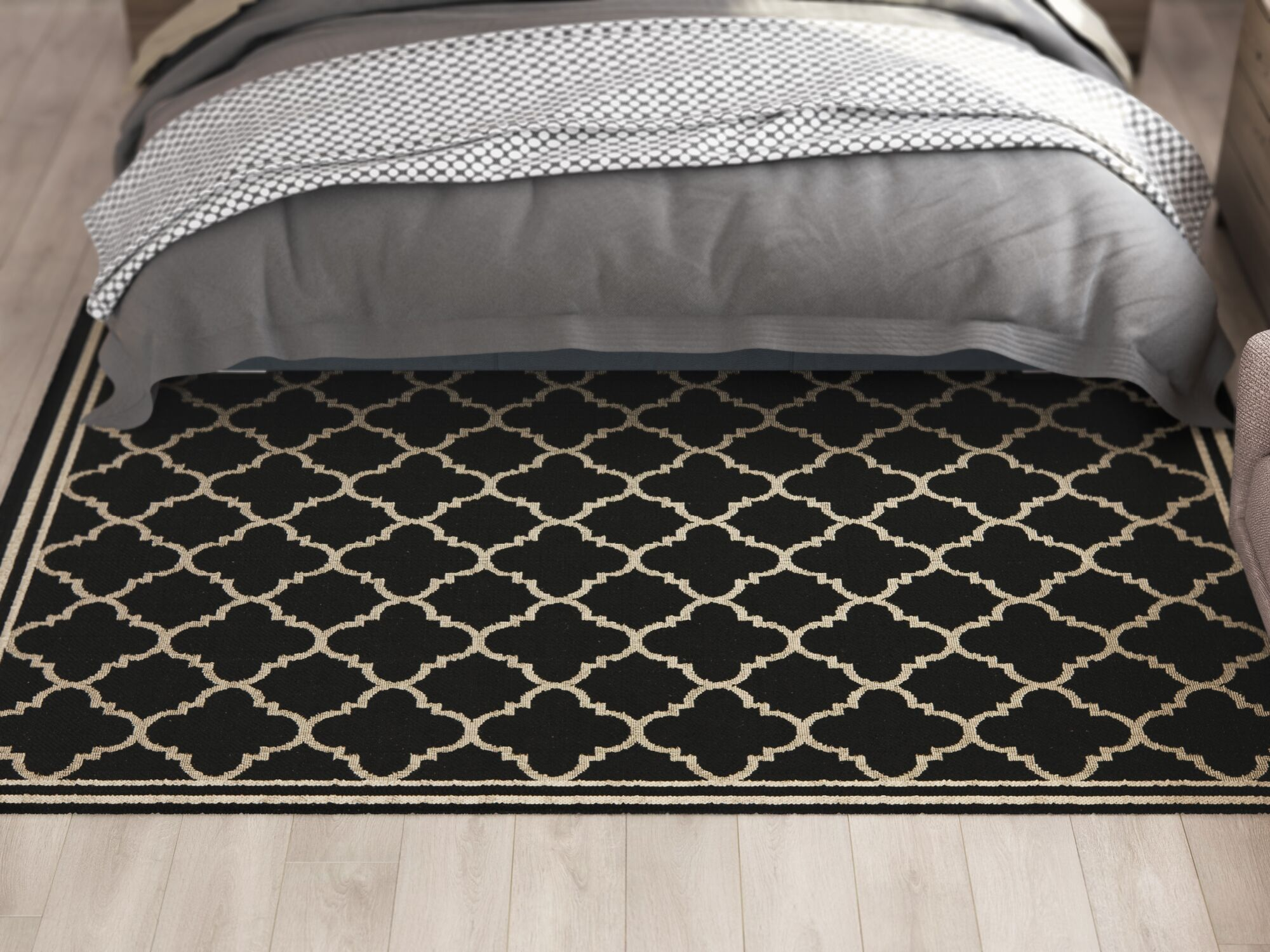 Short Black / Beige Rug Rug Size: Runner 2'2