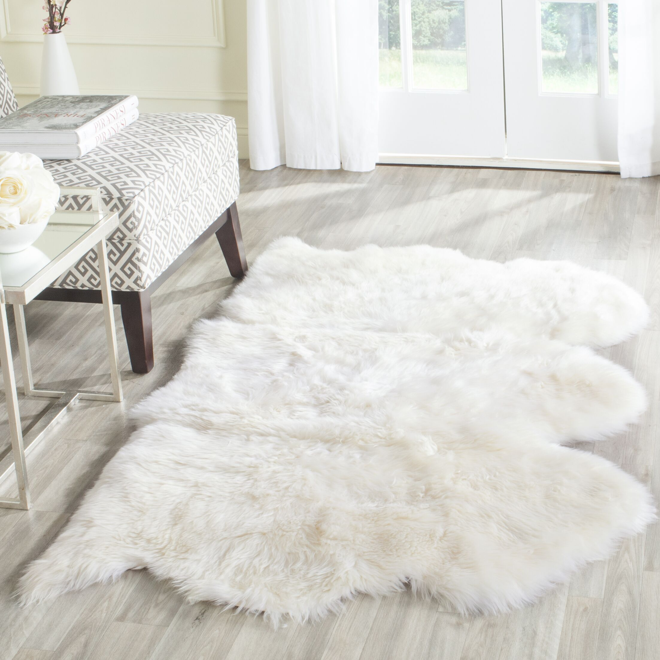 Allison Hand-Woven Faux Sheepskin White Area Rug Rug Size: Novelty 3' x 5'