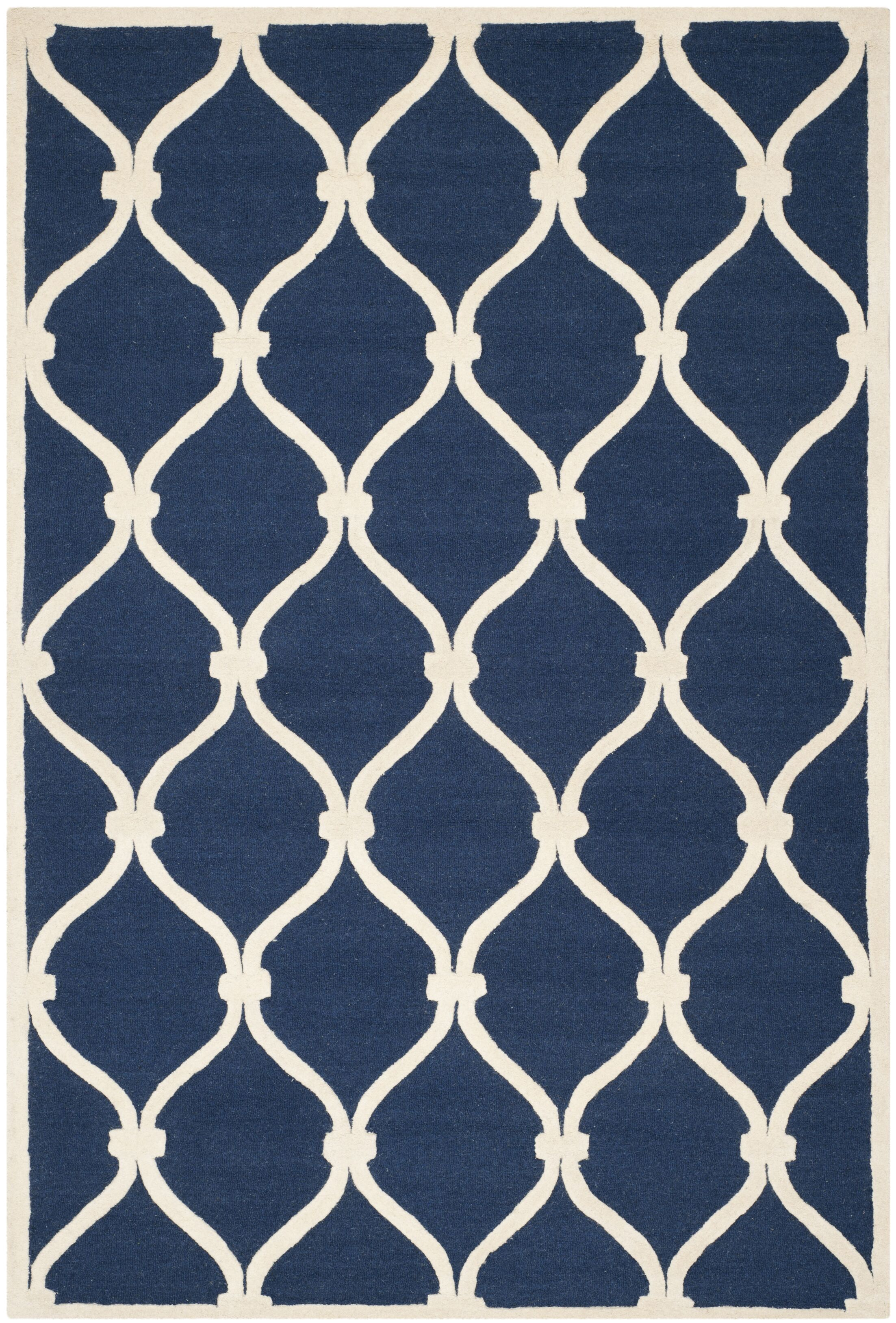 Leighton Wool Hand-Tufted Navy/Ivory Area Rug Rug Size: Rectangle 8' x 10'