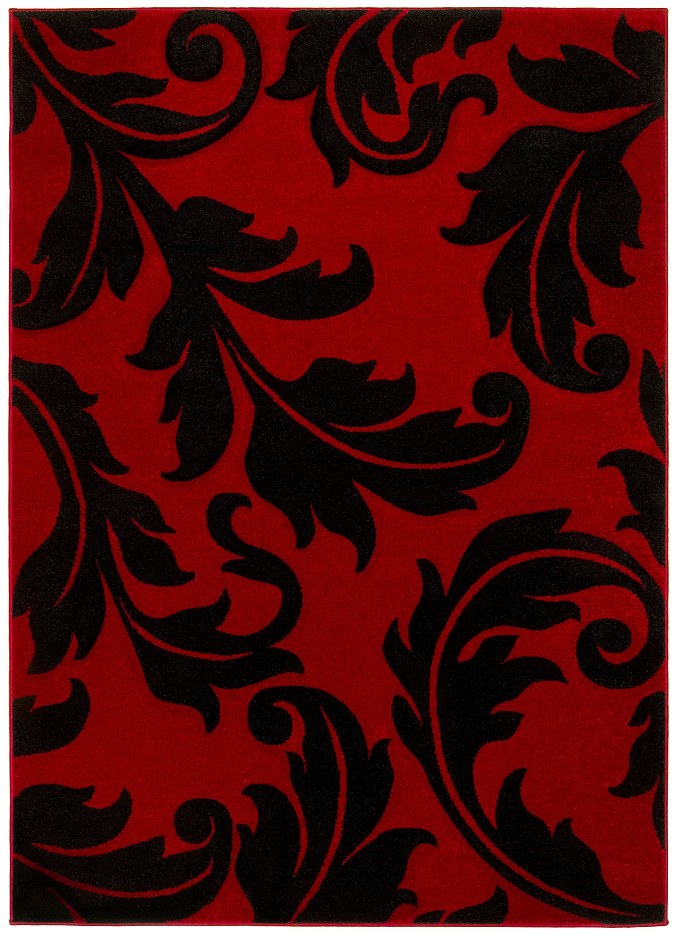 Floral Red Area Rug Rug Size: 8' x 11'