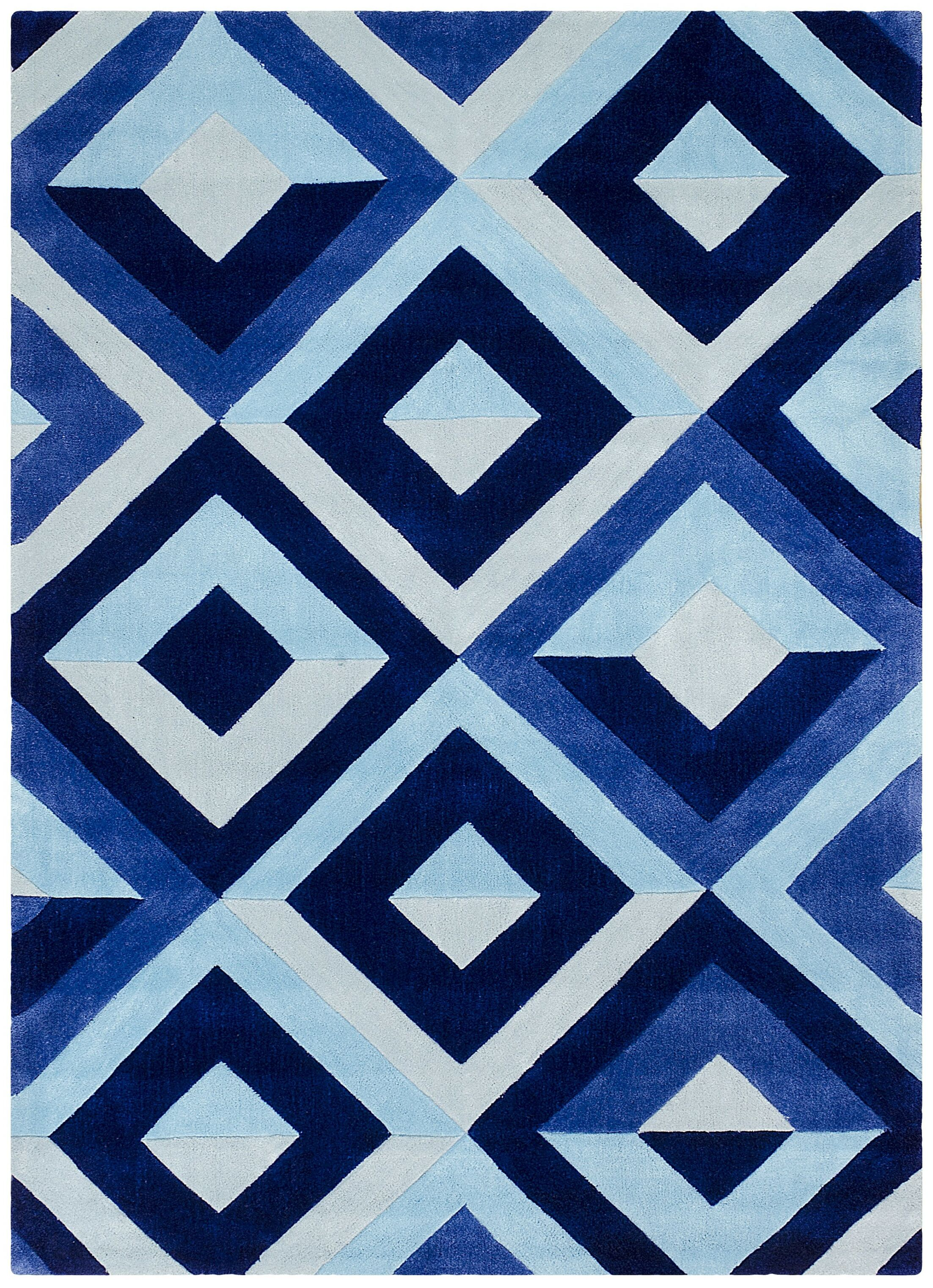 Hand Carved Diamond Blue/White Area Rug Rug Size: 8' x 10'