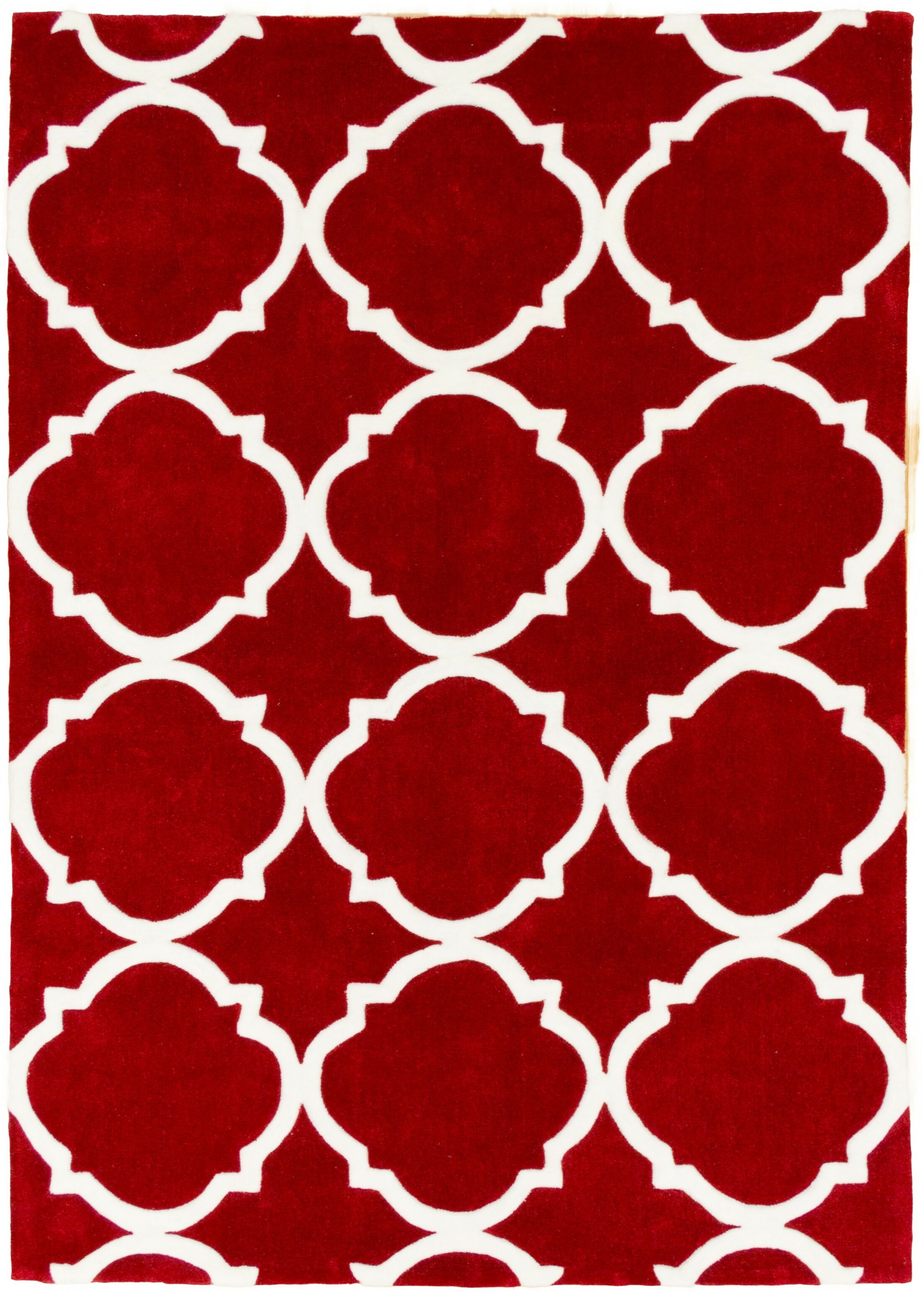 Hand Carved Moroccon Trellis Cherry/White Area Rug Rug Size: 5' x 7'