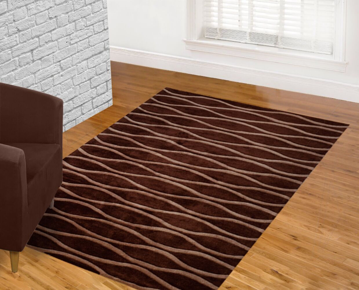 Hand Carved Wave Chocolate Area Rug Rug Size: 8' x 10'