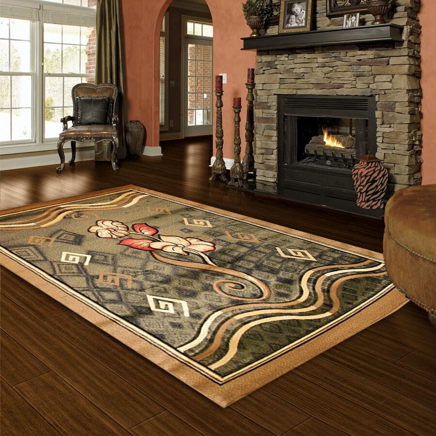 Hand-Carved Green Area Rug Rug Size: 4' x 6'