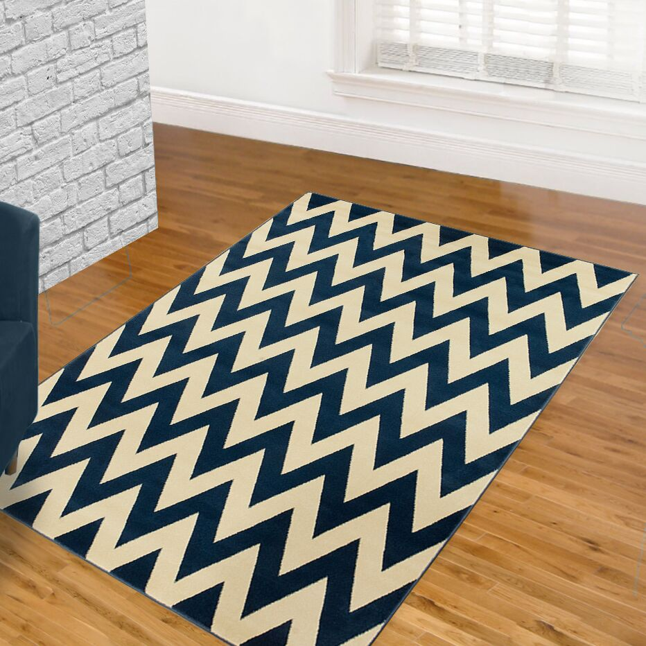 Blue/White Area Rug Rug Size: 8' x 11'