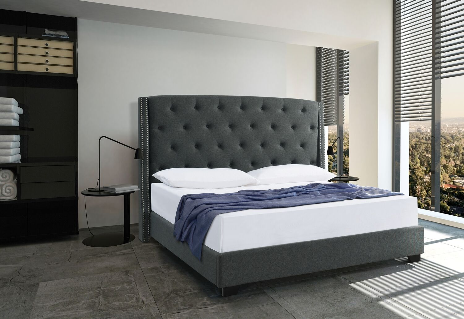Upholstered Panel Bed Size: King, Color: Charcoal