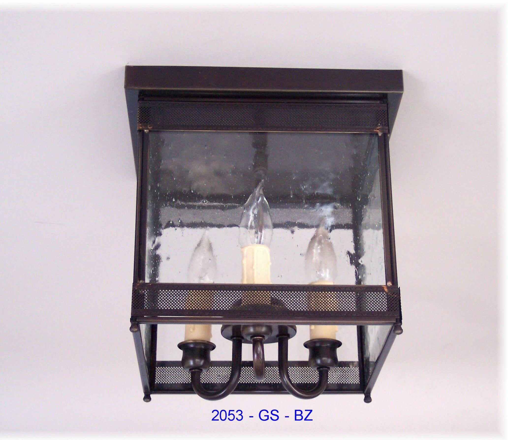 Erroll 3-Light Outdoor Flush Mount Fixture Finish: Dark Antique Brass, Shade Color: Drawn Antique