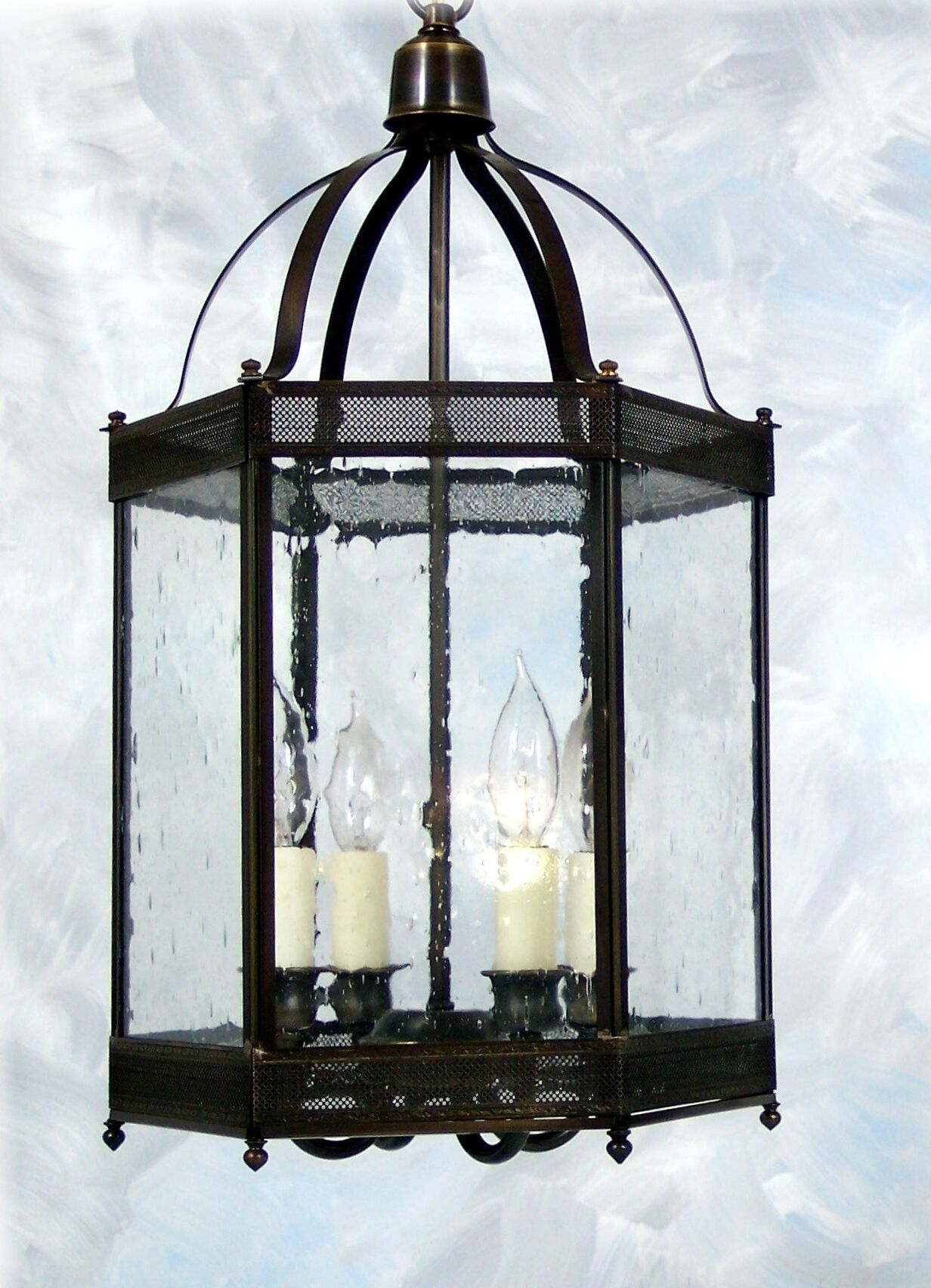 Chearsley 4-Light Glass Shade Foyer Pendant Shade Color: Seeded, Fixture Finish: Dark Antique Brass