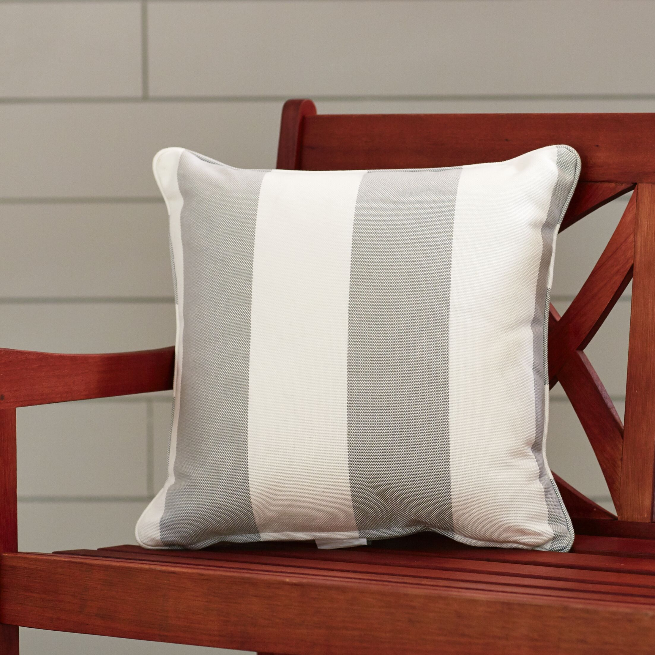 Outdoor Throw Pillow Color: Solana Seagull, Width: 16