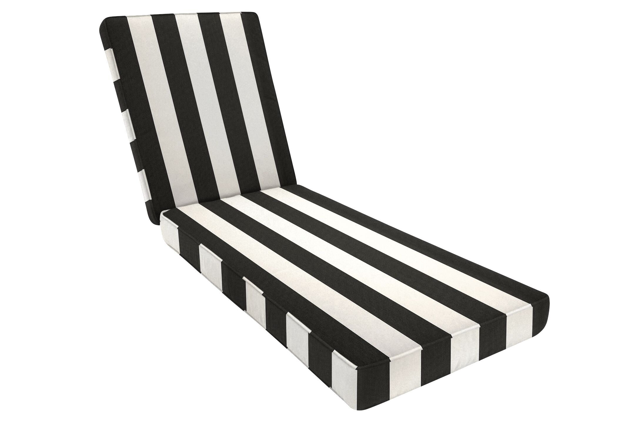 Removable Double-Piped Indoor/Outdoor Sunbrella Chaise Seat Cushion