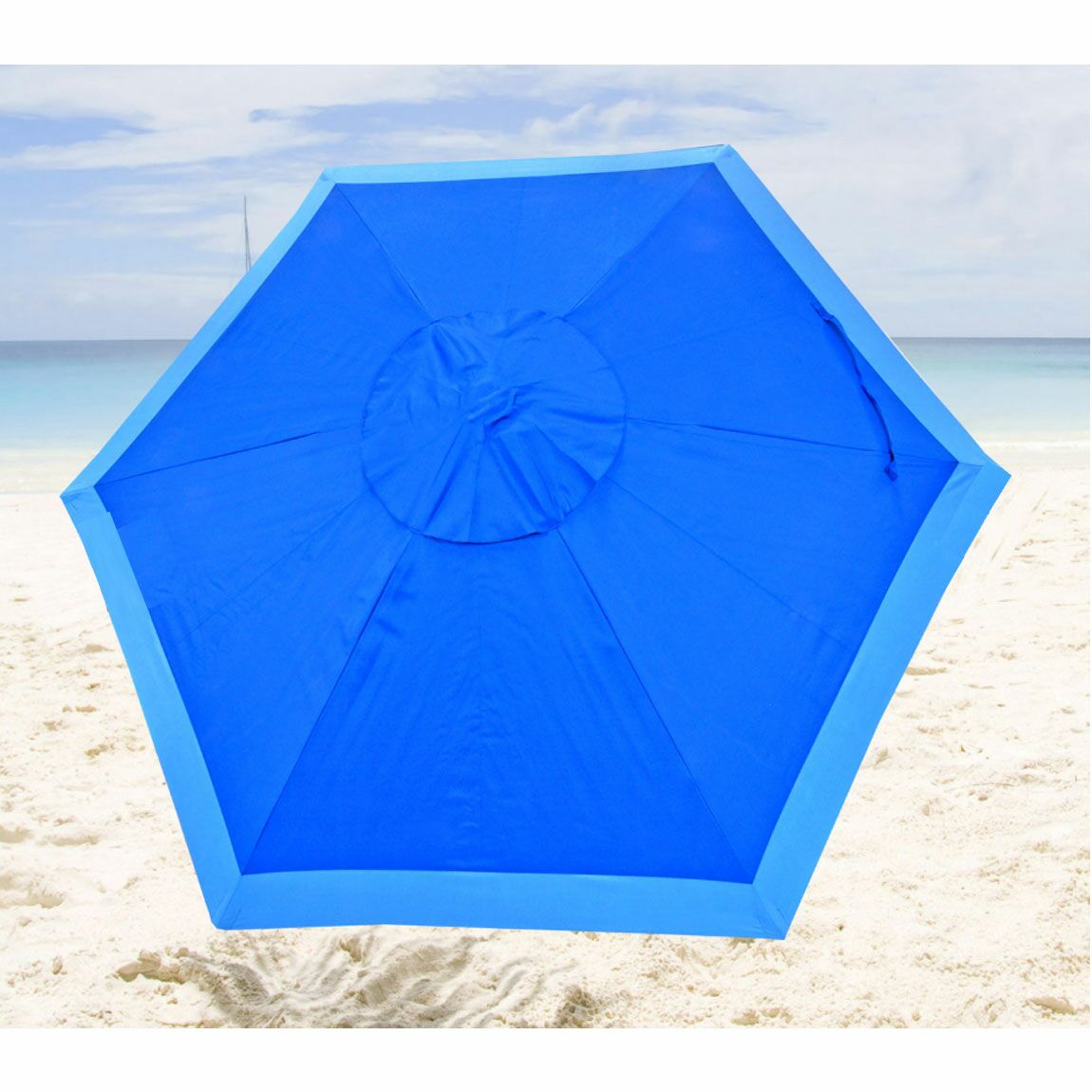 Popular market style umbrella with 7 foot wide canopy is multi-purpose designed for beach, patio or backyard. Its vented top allows heat to rise and dissipate for cool shade under the umbrella and stability in windy conditions. The attractive and rugg...