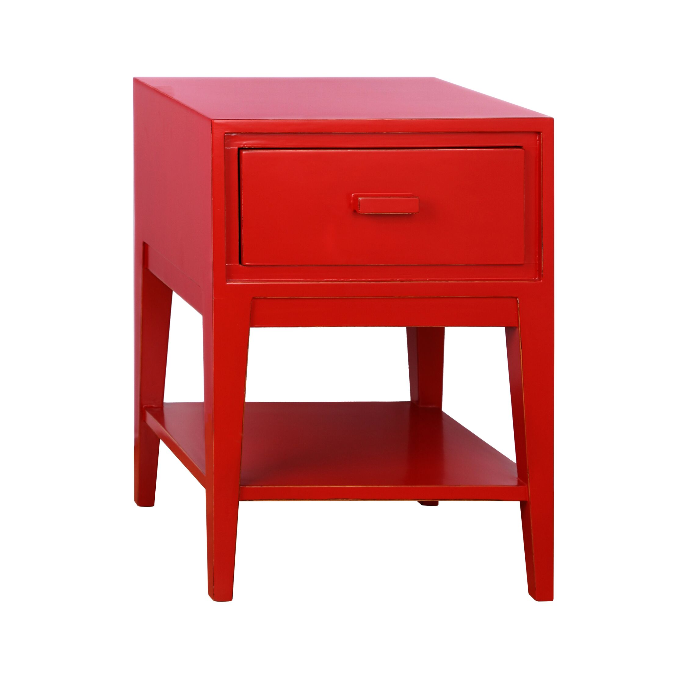 Enid 1 Drawer Nightstand Color: Red
