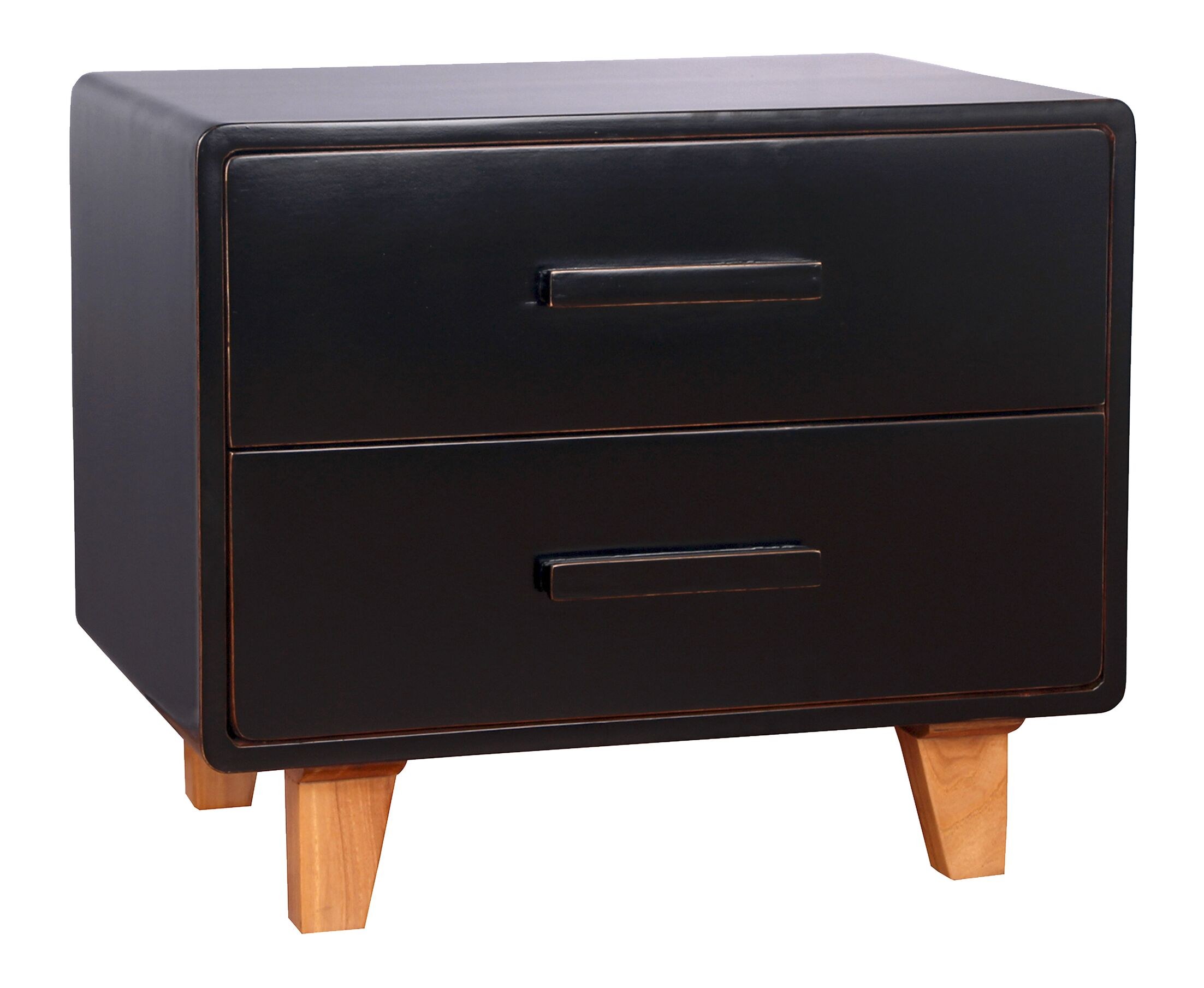 Juniper 2 Drawer Nightstand Color: Black