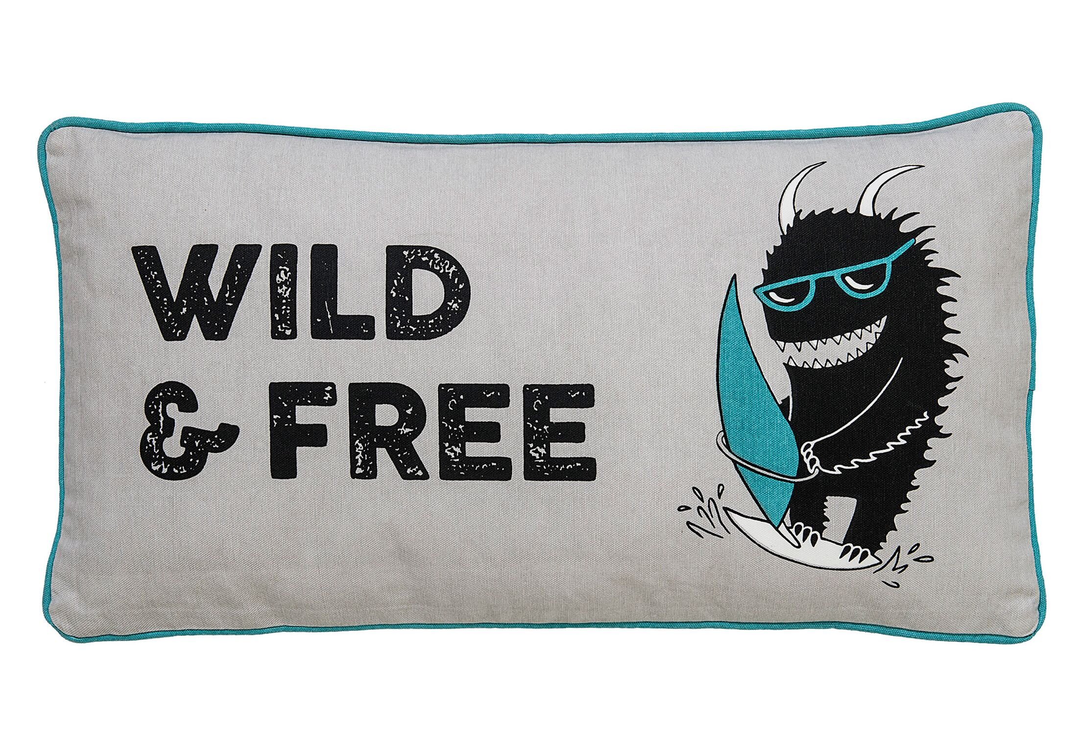 Canton Wild and Free Monster Cotton Throw Pillow