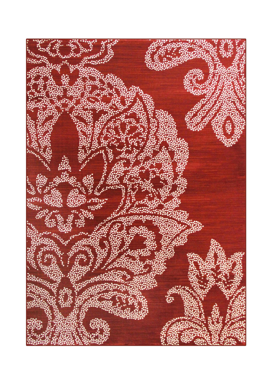 Klahn Red Area Rug Rug Size: 6'7 x 9'6