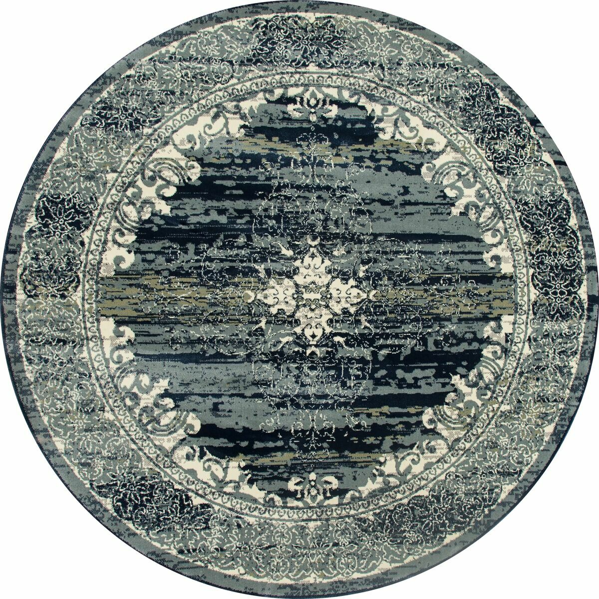 Channel Teal Blue Area Rug Rug Size: ROUND 5'3