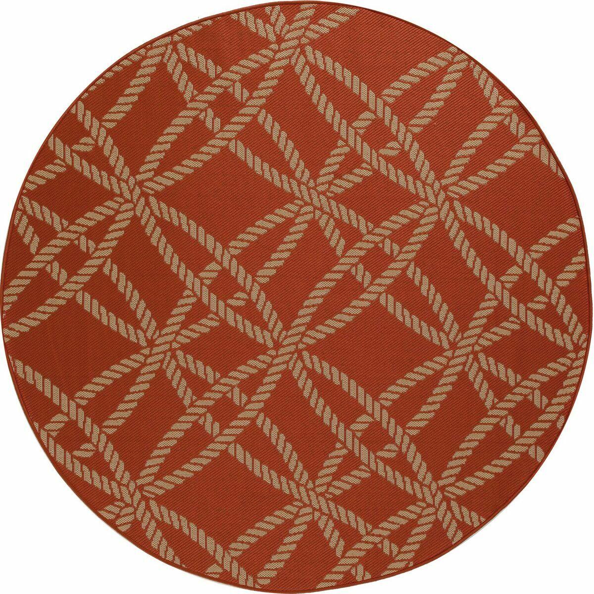 Criner Red Indoor/Outdoor Area Rug Rug Size: ROUND 6'7