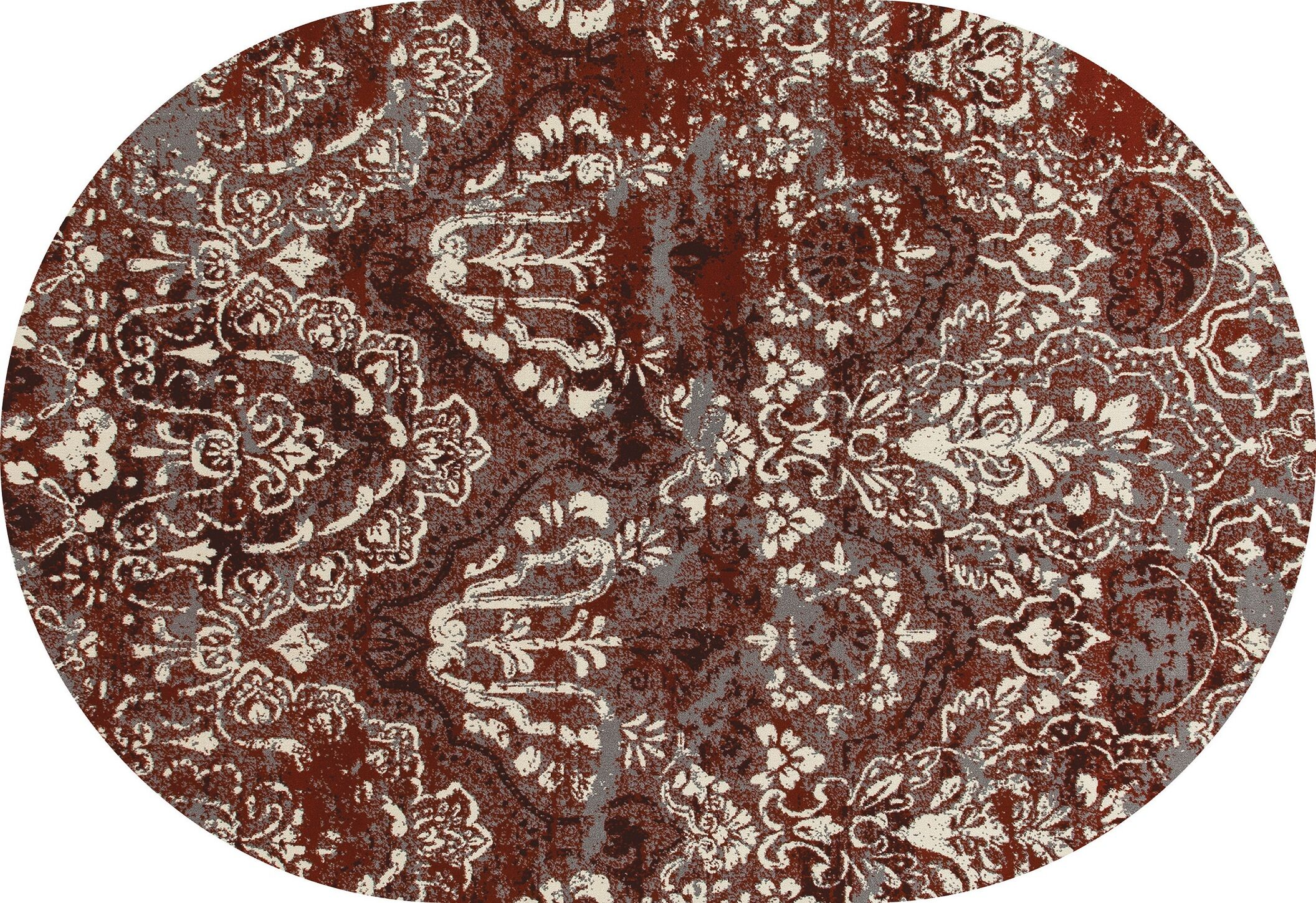 Hewish Red Area Rug Rug Size: OVAL 5'3 x 7'7