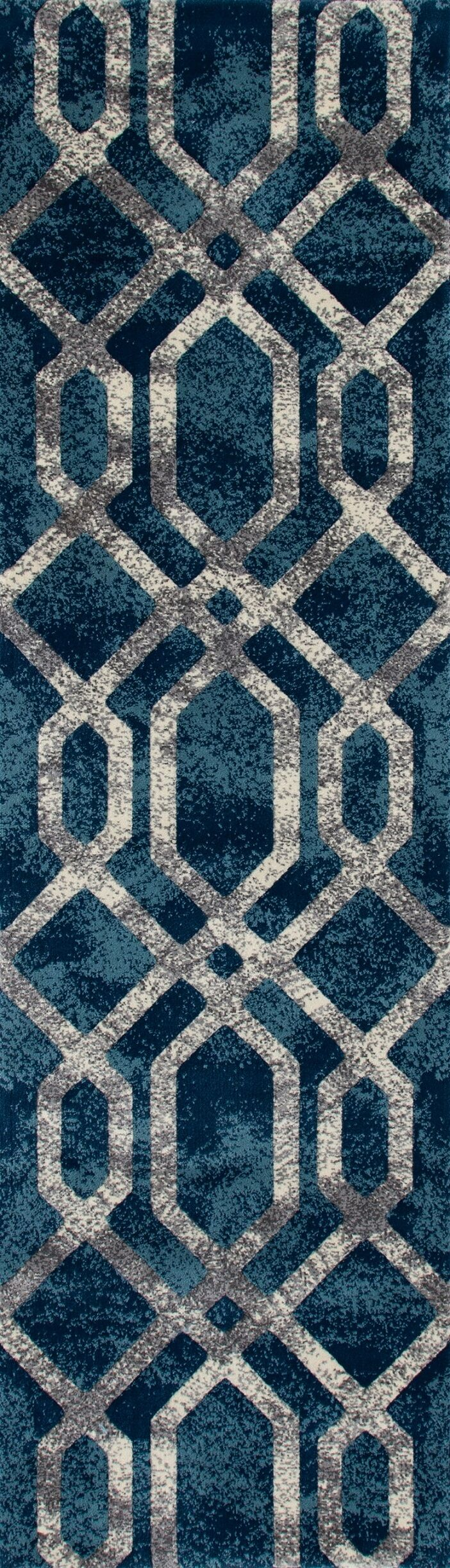 Delanie Blue And Silver Area Rug Rug Size: Runner 2'2