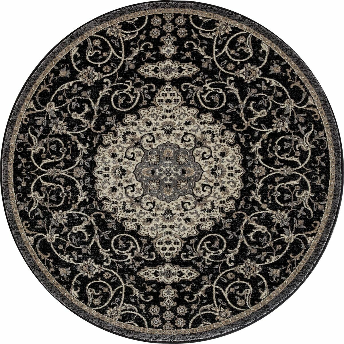 Landy Black Area Rug Rug Size: ROUND 7'10