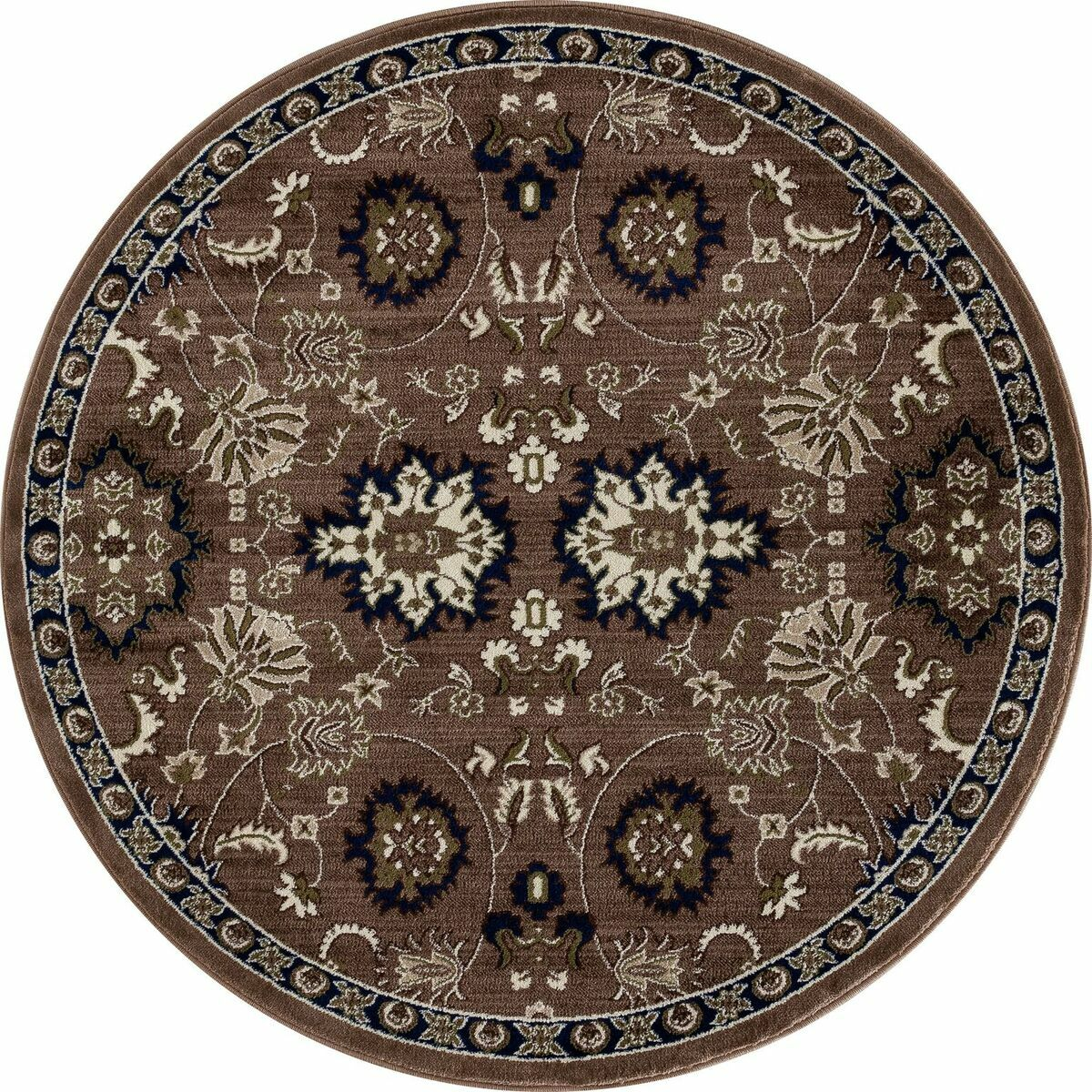 Hudson Brown/Cream Area Rug Rug Size: ROUND 7'10