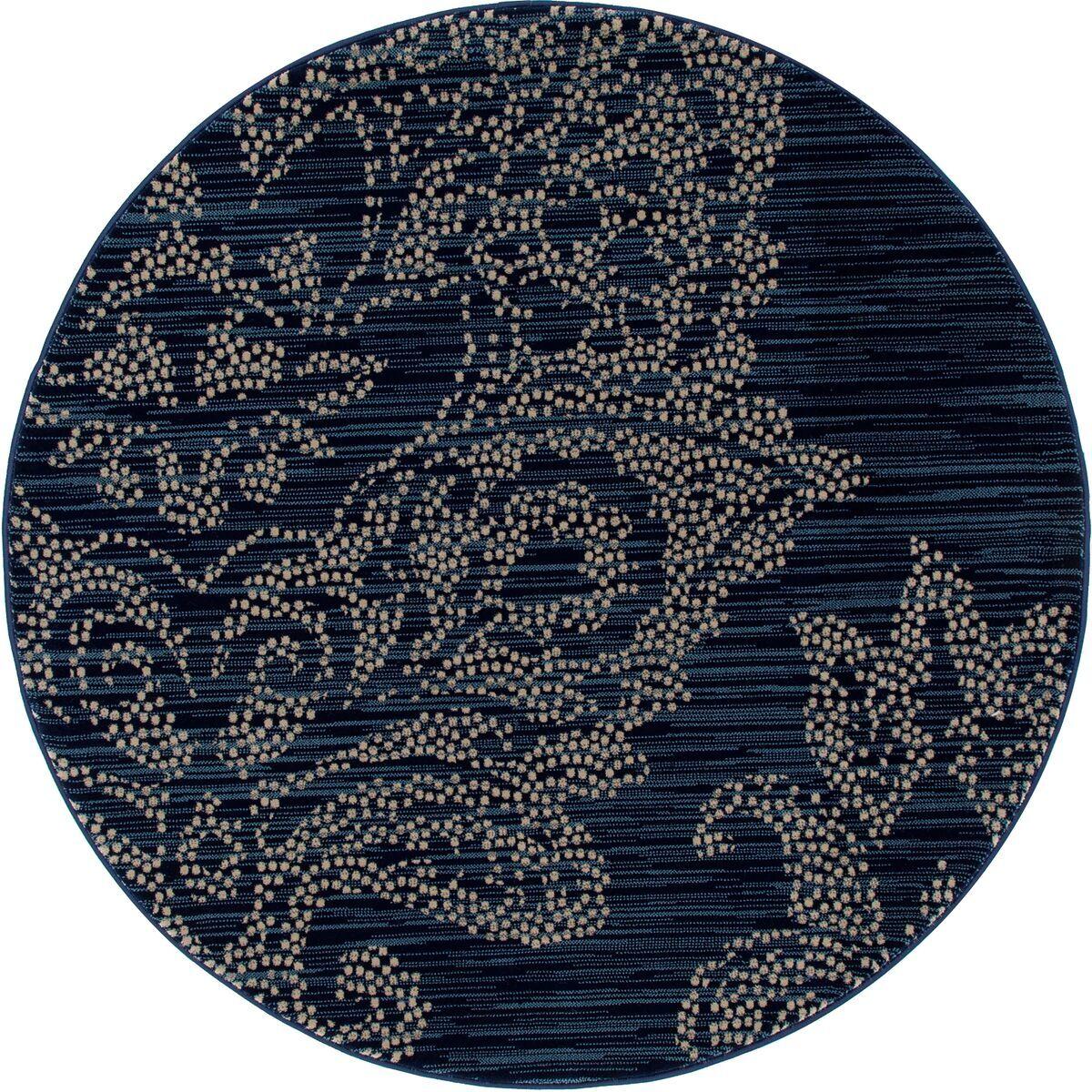 Klahn Blue Area Rug Rug Size: ROUND 5'3
