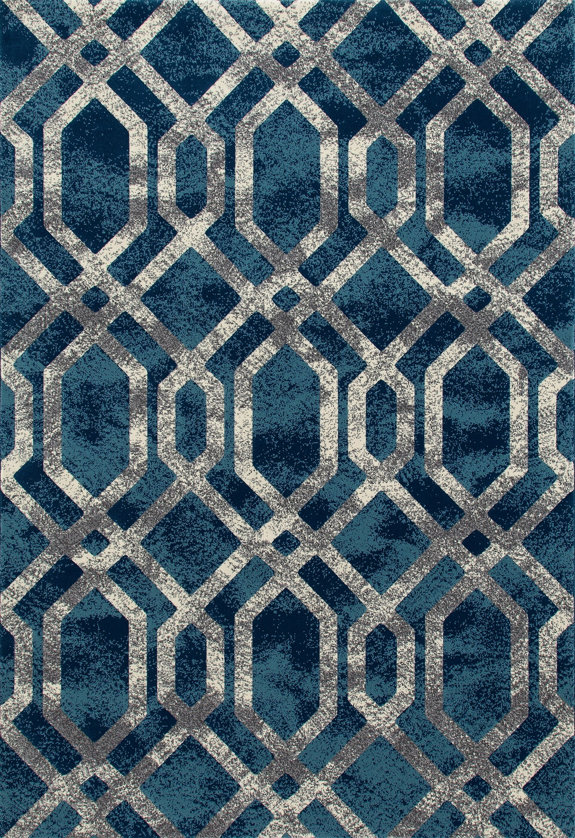 Delanie Blue And Silver Area Rug Rug Size: 6'7 x 9'6
