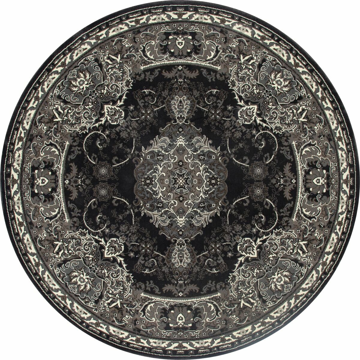 Channel Gray Area Rug Rug Size: ROUND 7'10
